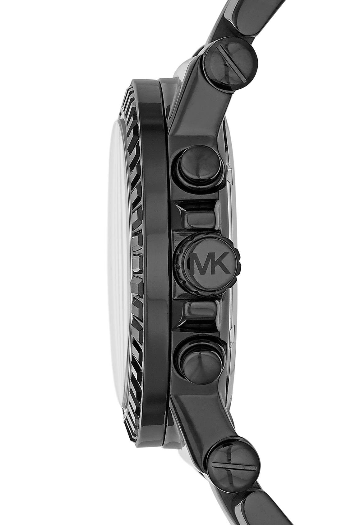 Michael Kors 'Dylan' Crystal Bezel Chronograph Watch, 43mm,                             Alternate thumbnail 3, color,                             001