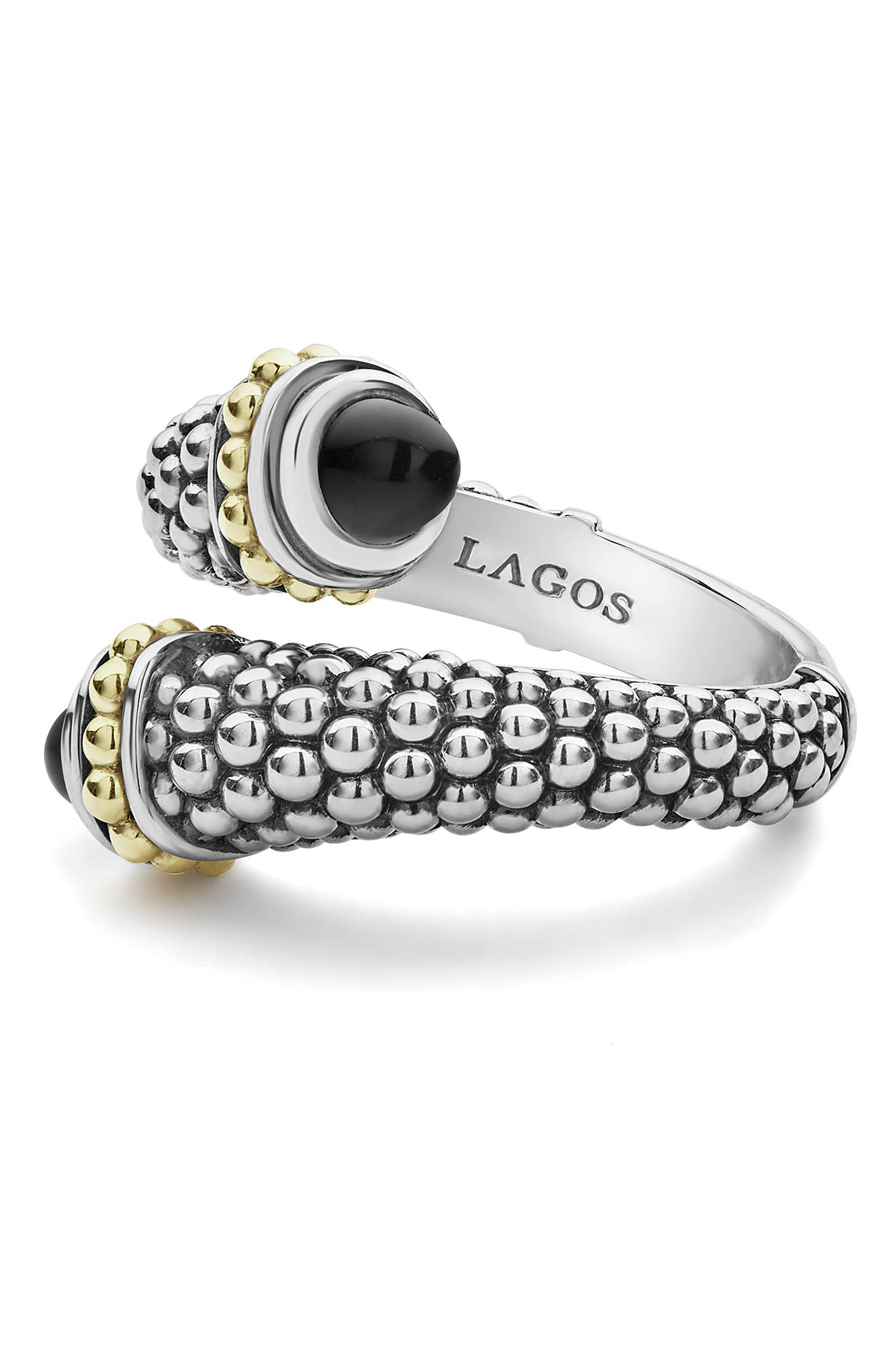 Signature Caviar Crossover Ring,                             Alternate thumbnail 3, color,                             SILVER/ BLACK ONYX