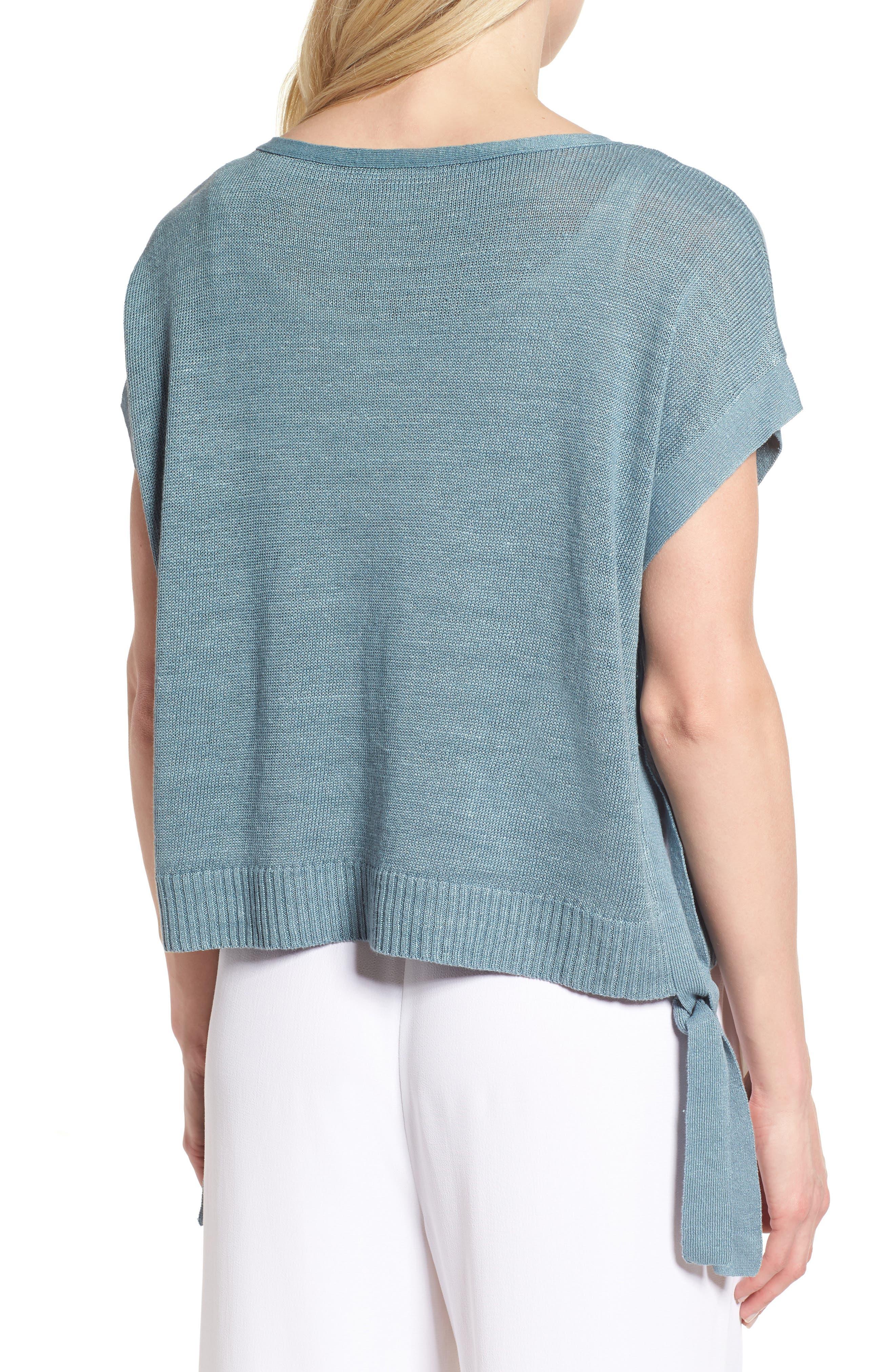 Short Organic Linen Poncho Top,                             Alternate thumbnail 10, color,