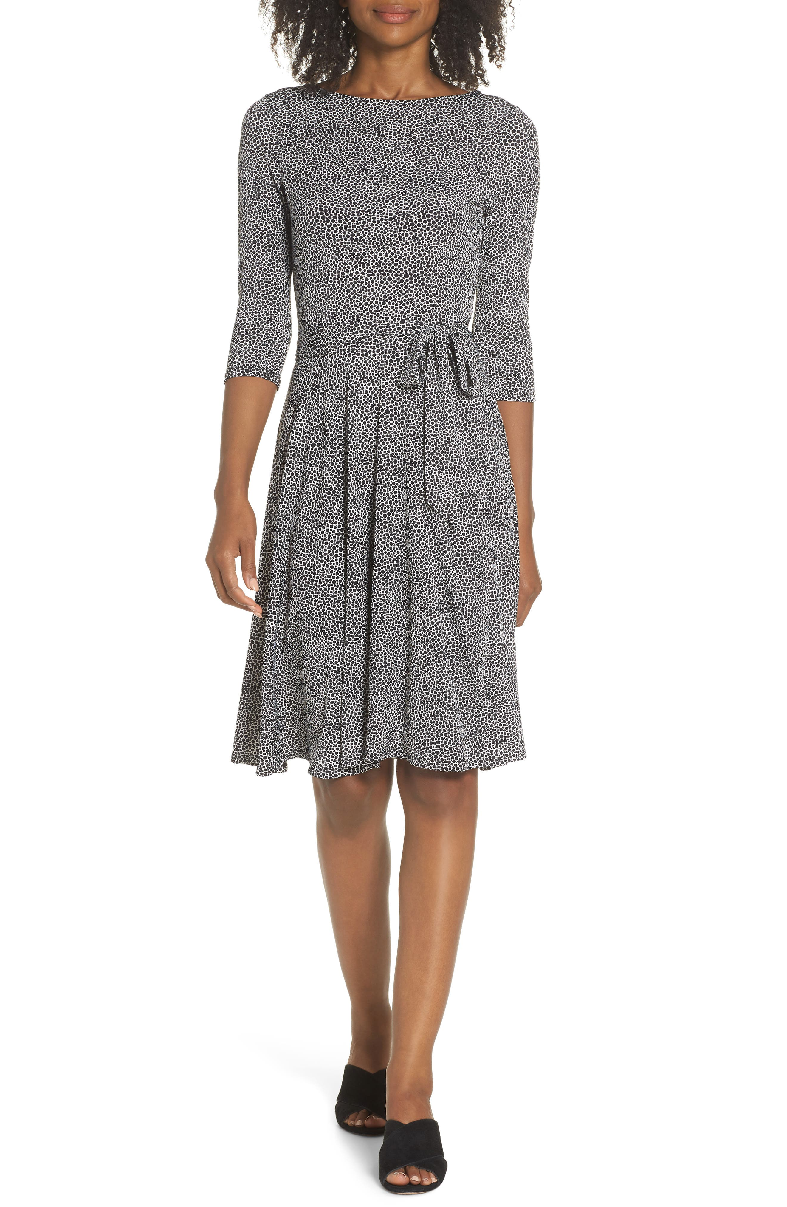 Belted Print Jersey A-Line Dress,                             Main thumbnail 1, color,                             PEBBLE