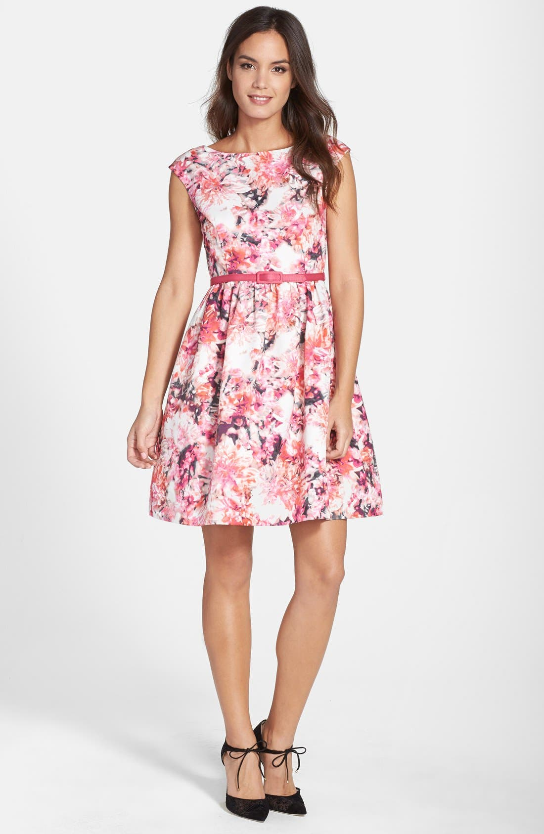 Belted Print Faille Fit & Flare Dress,                             Alternate thumbnail 3, color,                             660