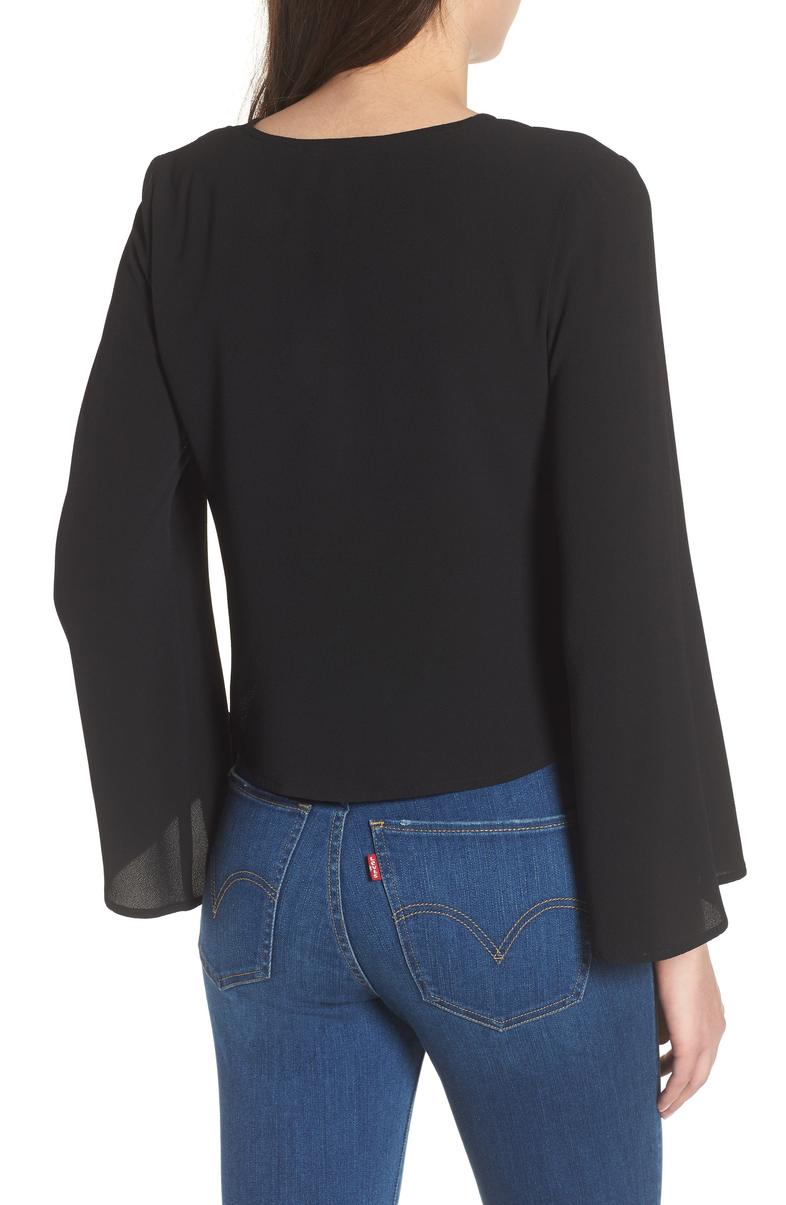 Ruched Front Top,                             Alternate thumbnail 2, color,                             001