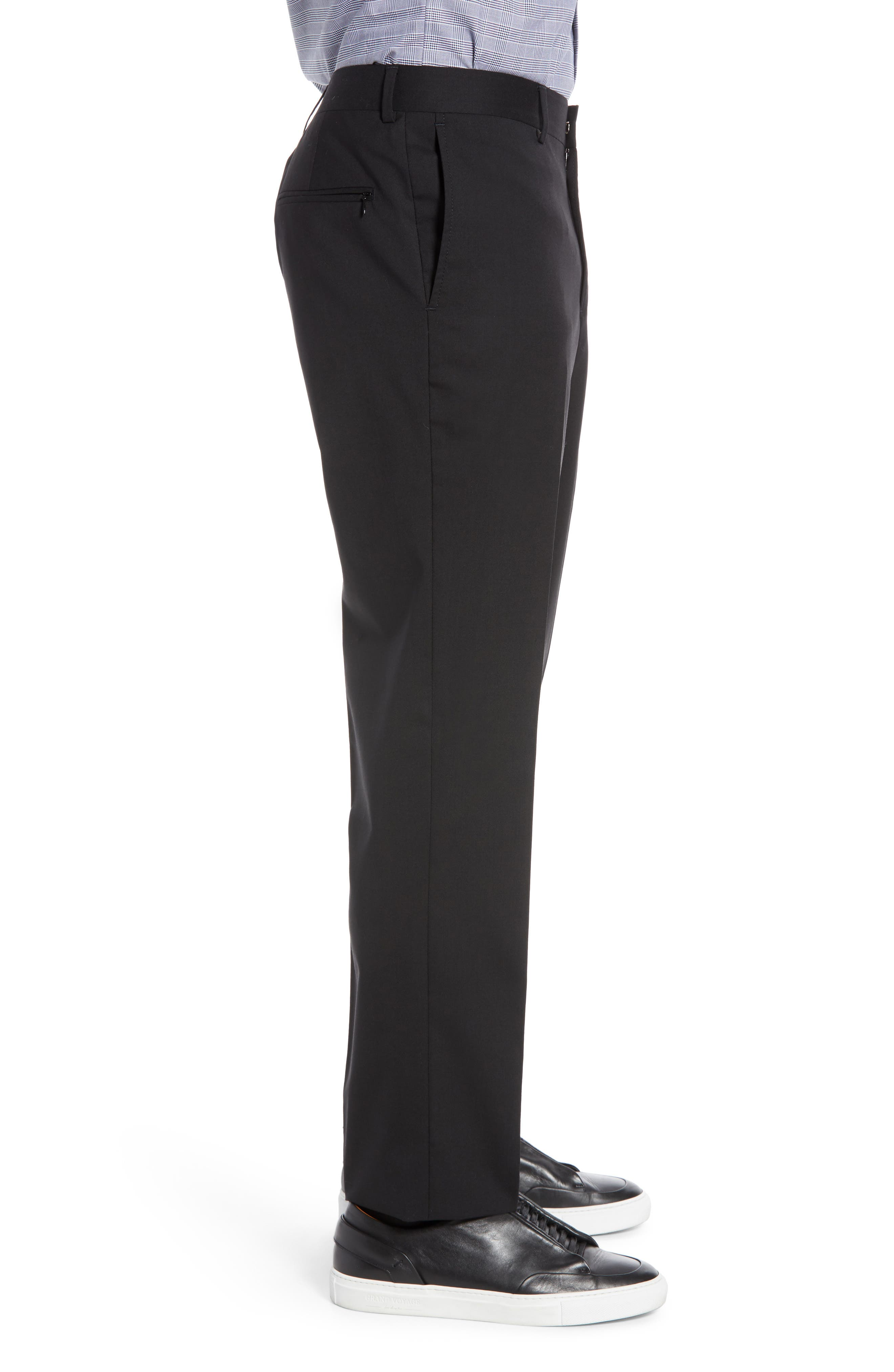 Tech-Smart Trim Fit Stretch Wool Travel Trousers,                             Alternate thumbnail 3, color,                             BLACK