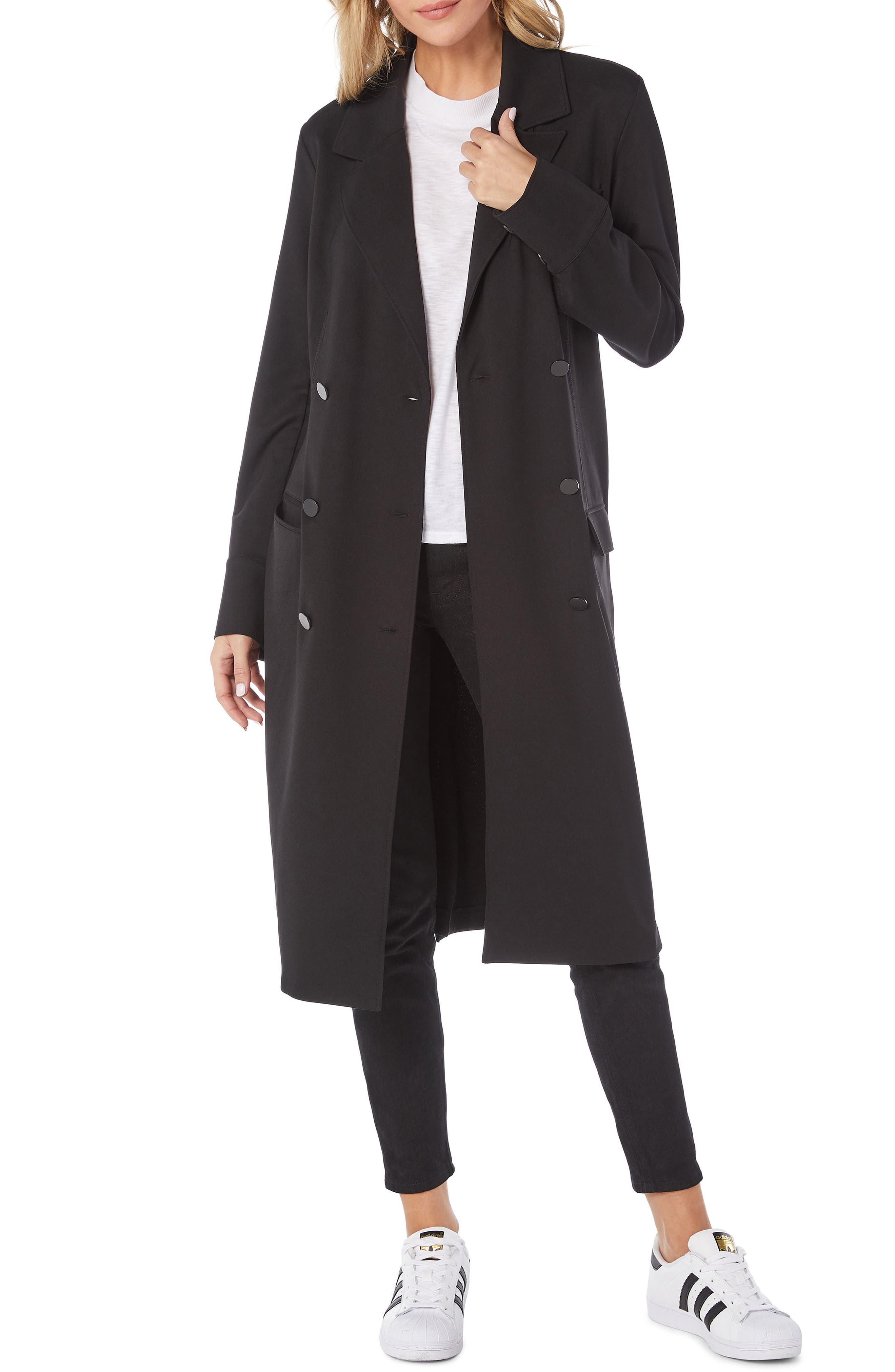 Ponte Coat,                             Main thumbnail 1, color,                             BLACK
