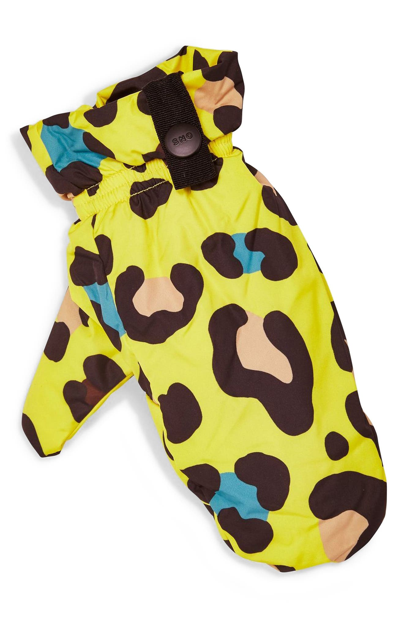 Piper Water Repellent Leopard Print Jacket & Mittens Set,                             Alternate thumbnail 8, color,                             YELLOW
