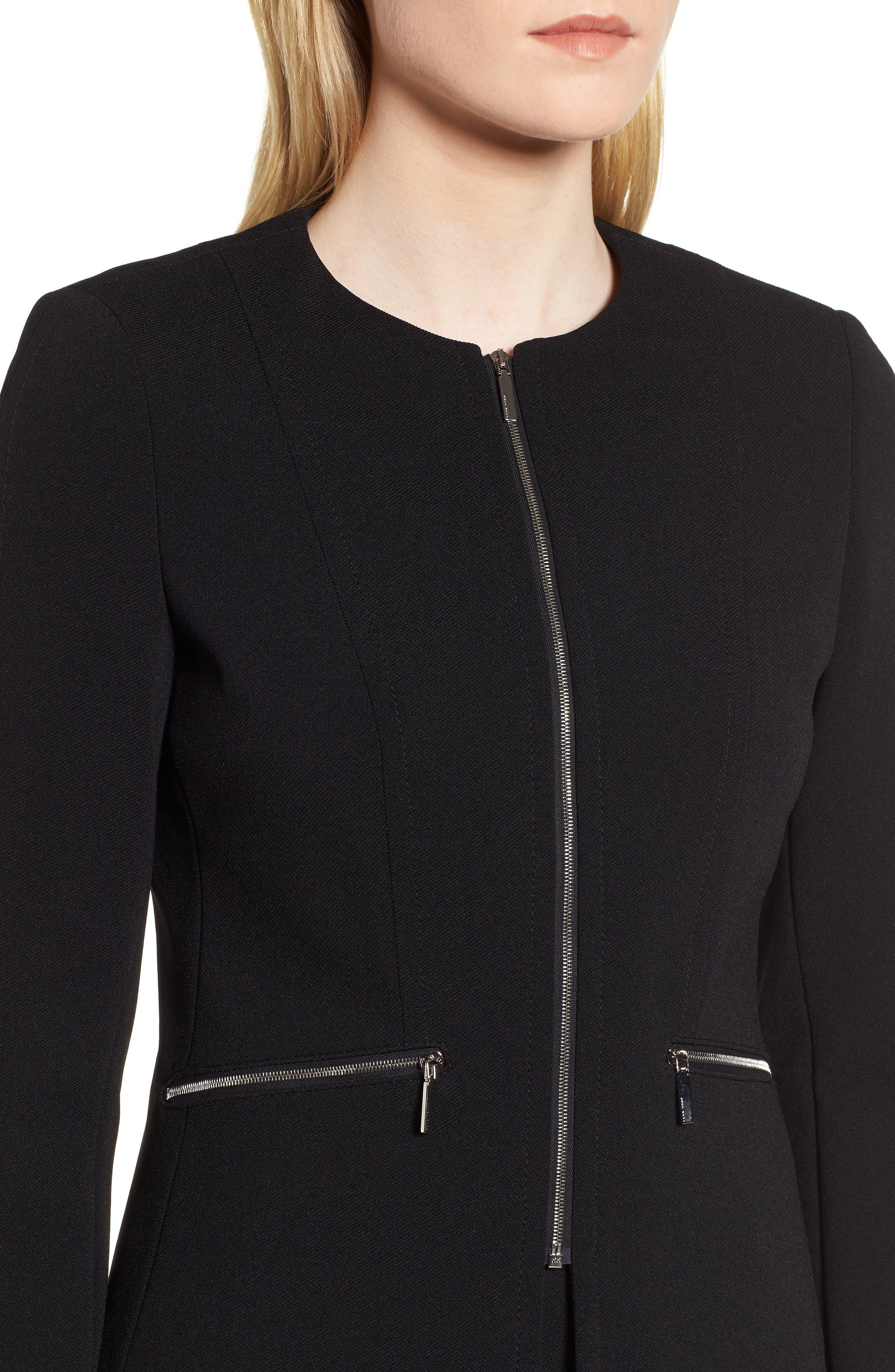 Jazulara Twill Jersey Suit Jacket,                             Alternate thumbnail 4, color,                             001
