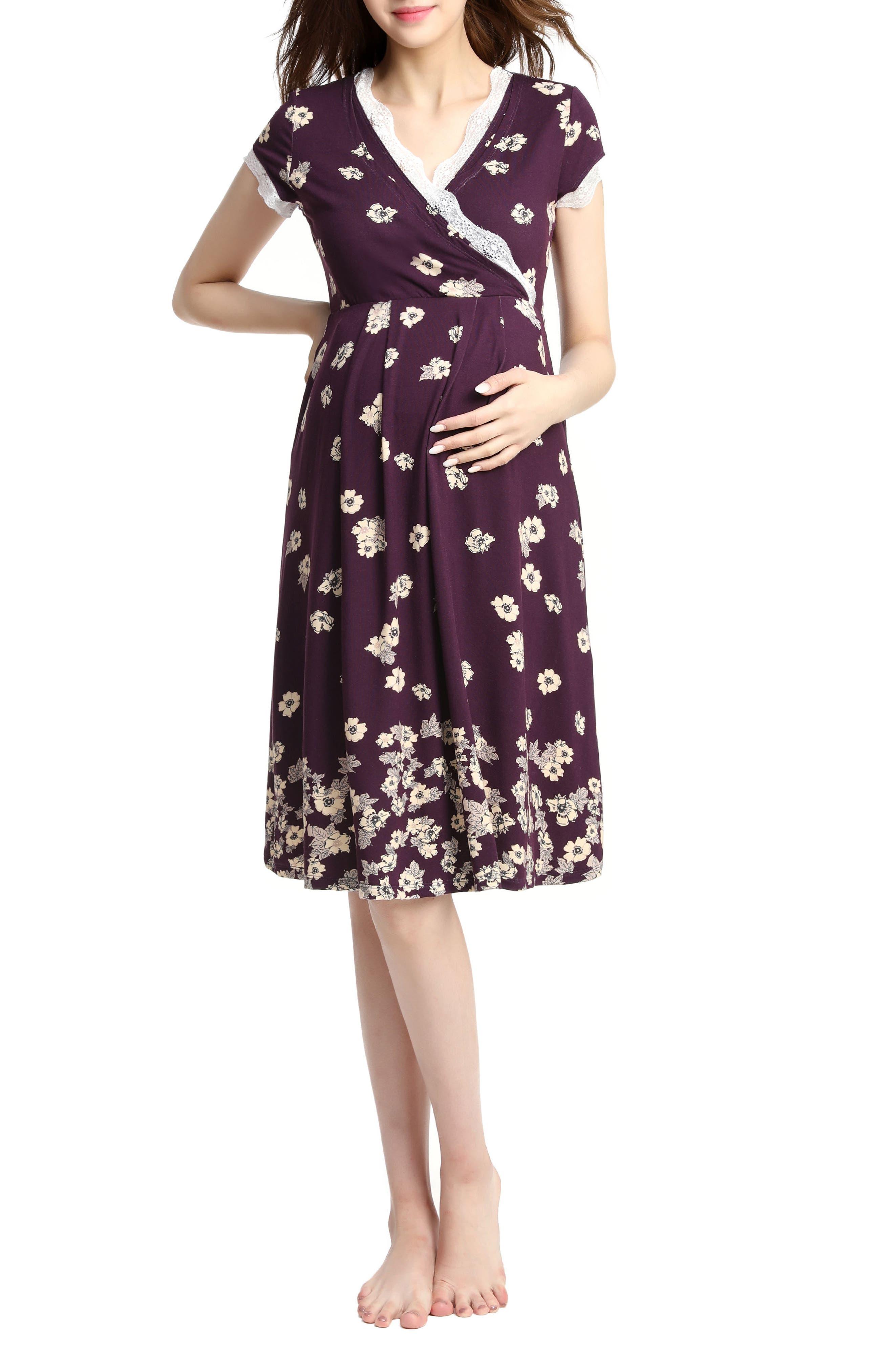 Vintage Style Maternity Clothes Womens Kimi  Kai Shae Print Nursingmaternity Chemise Size X-Large - Purple $68.00 AT vintagedancer.com