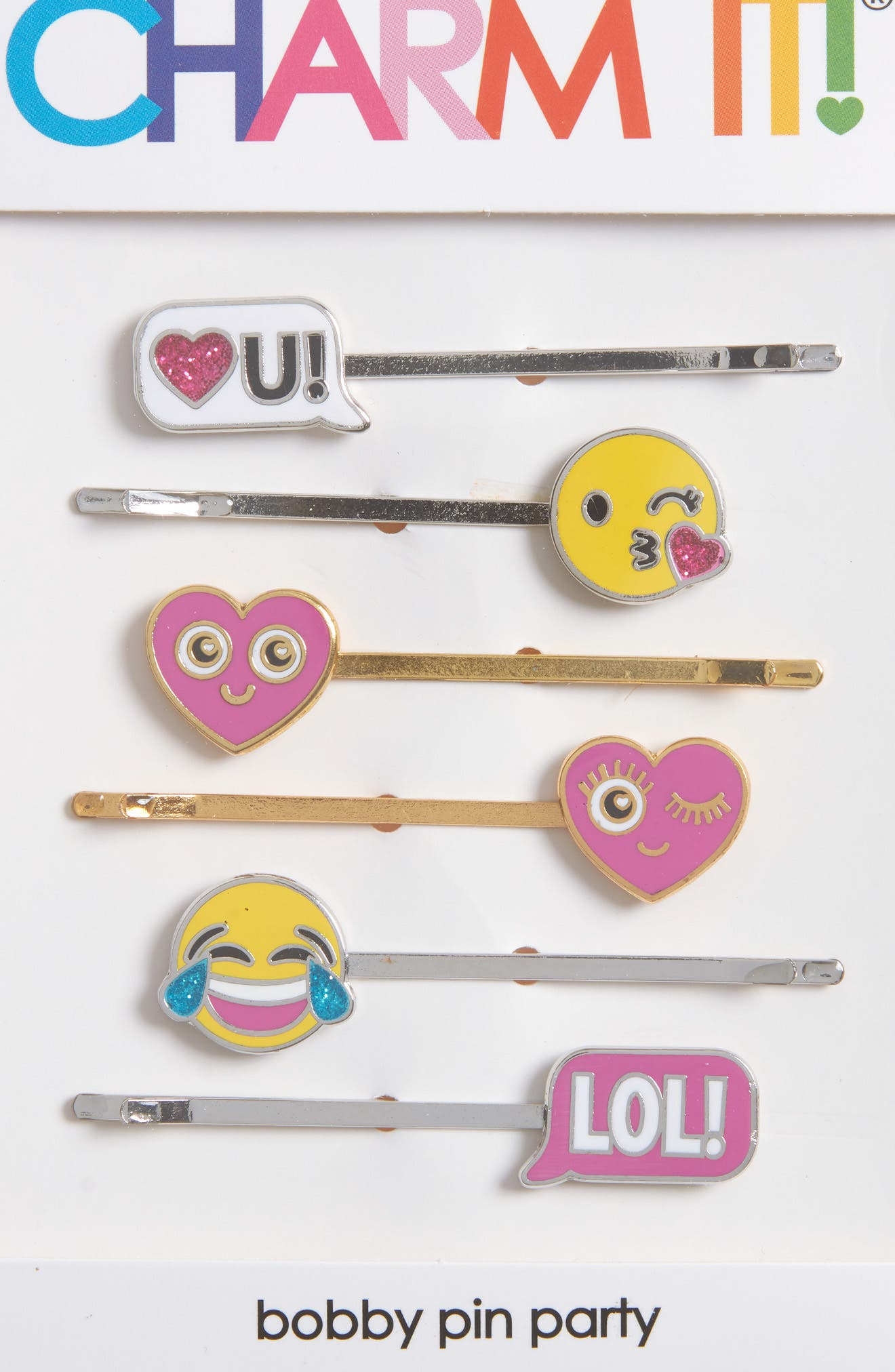 CHARM IT!<sup>®</sup> Party 6-Pack Emoji Bobby Pins,                             Alternate thumbnail 3, color,                             100