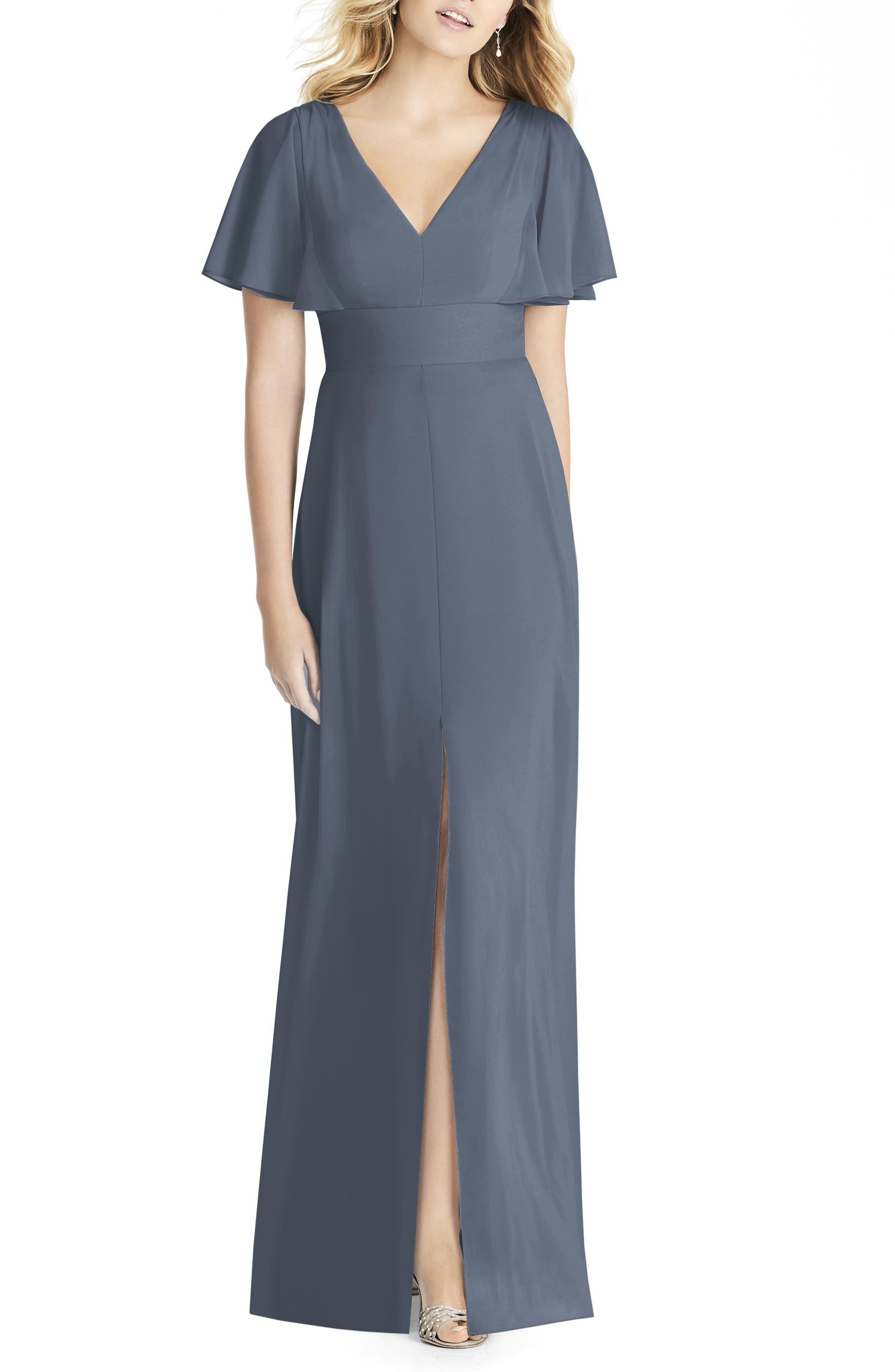 Social Bridesmaids Split Sleeve Chiffon Gown, Grey