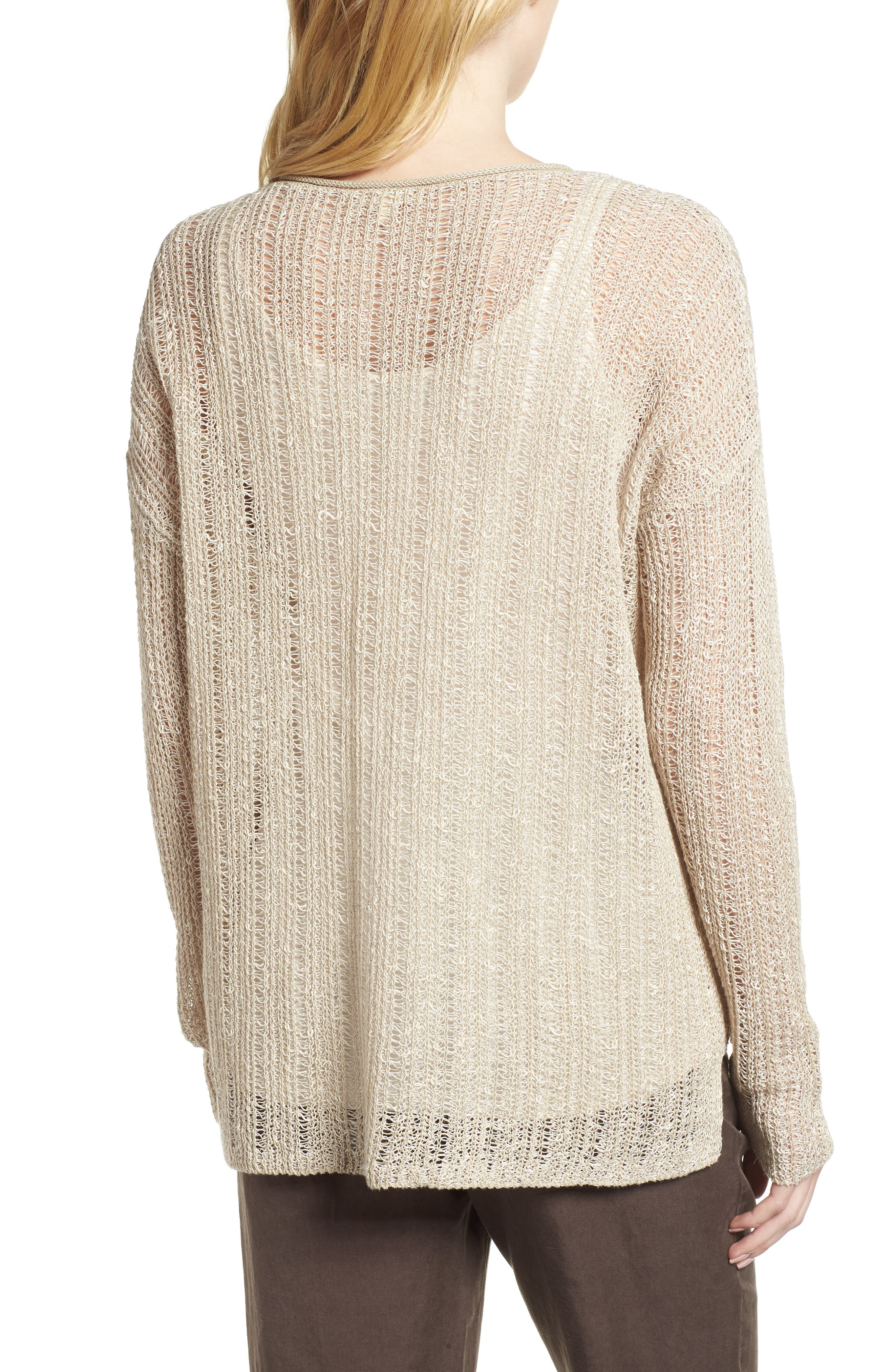 Open Knit Organic Linen Blend Sweater,                             Alternate thumbnail 6, color,