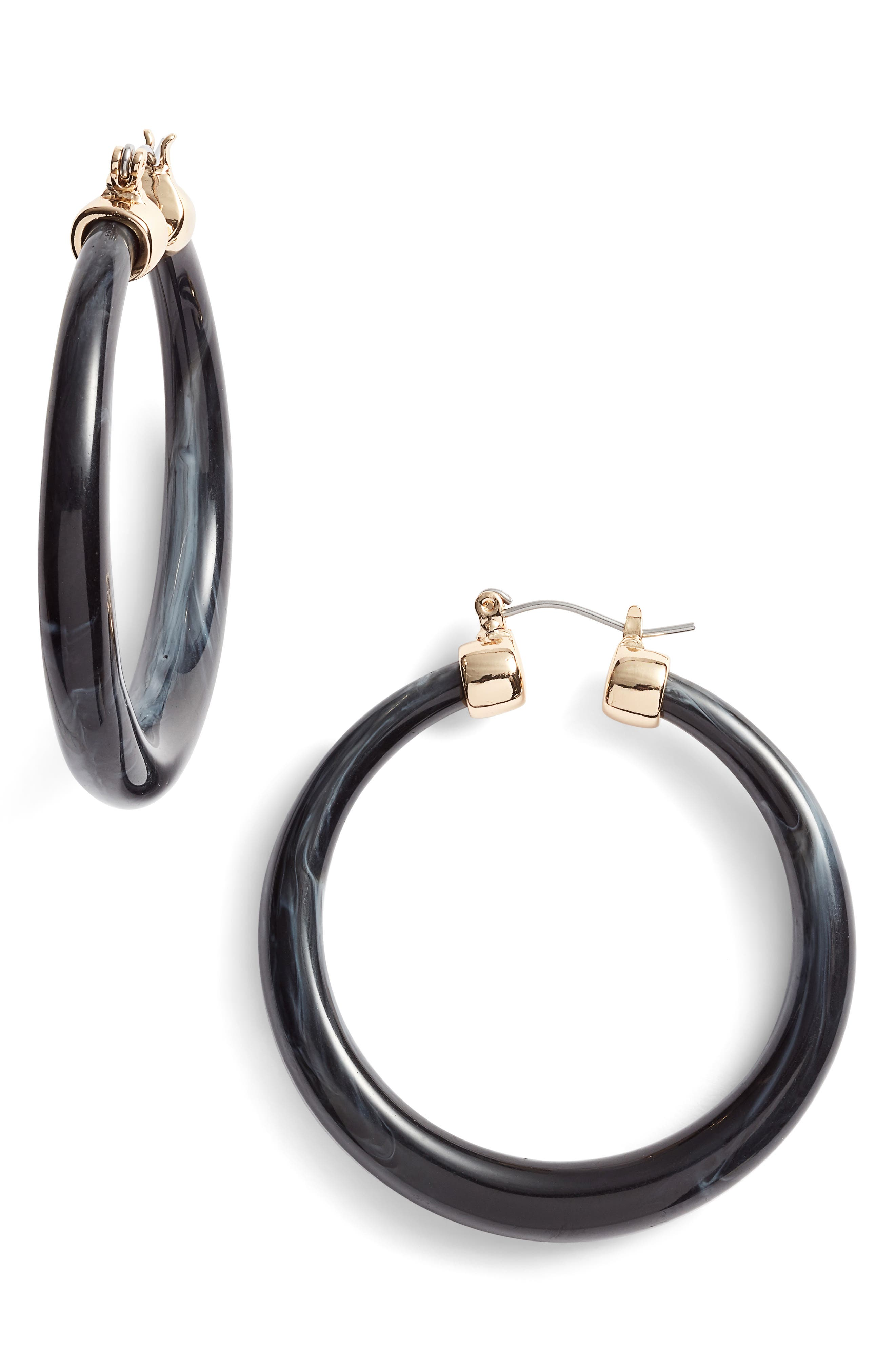 HALOGEN<SUP>®</SUP> Tapered Hoop Earrings, Main, color, BLACK- GOLD
