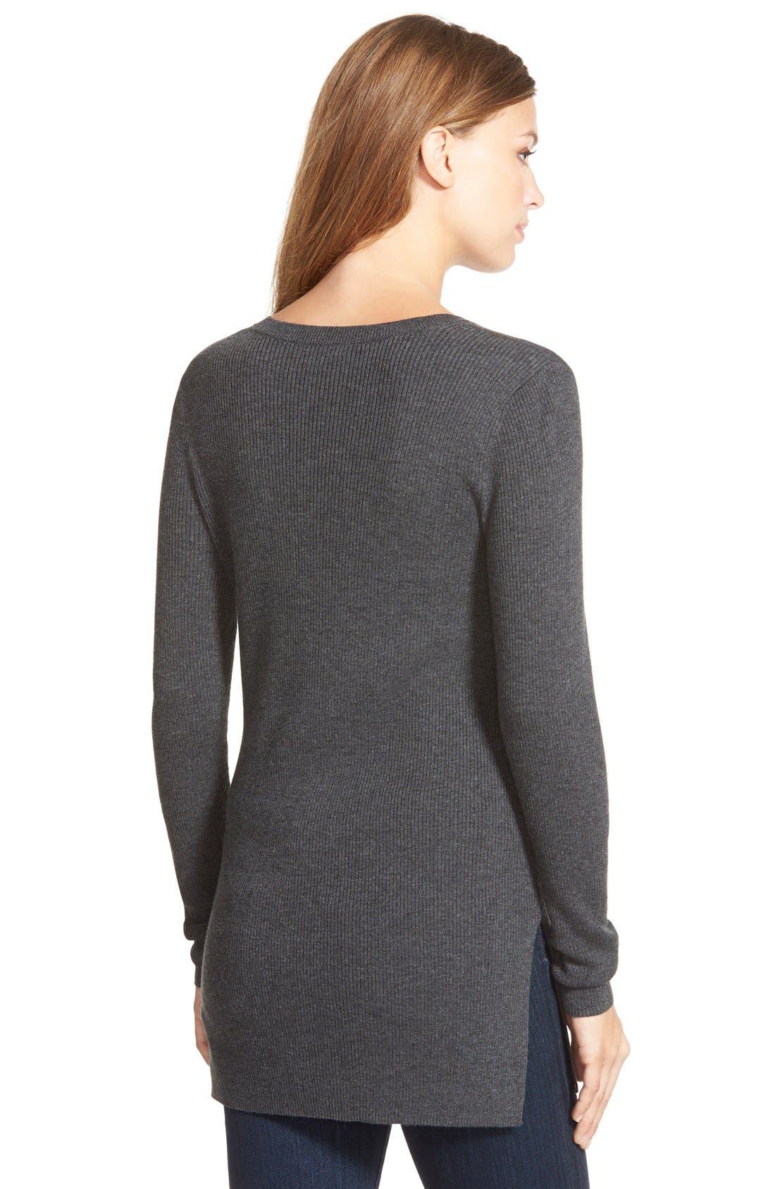 HALOGEN<SUP>®</SUP>,                             Side Slit V-Neck Ribbed Tunic Sweater,                             Alternate thumbnail 4, color,                             021