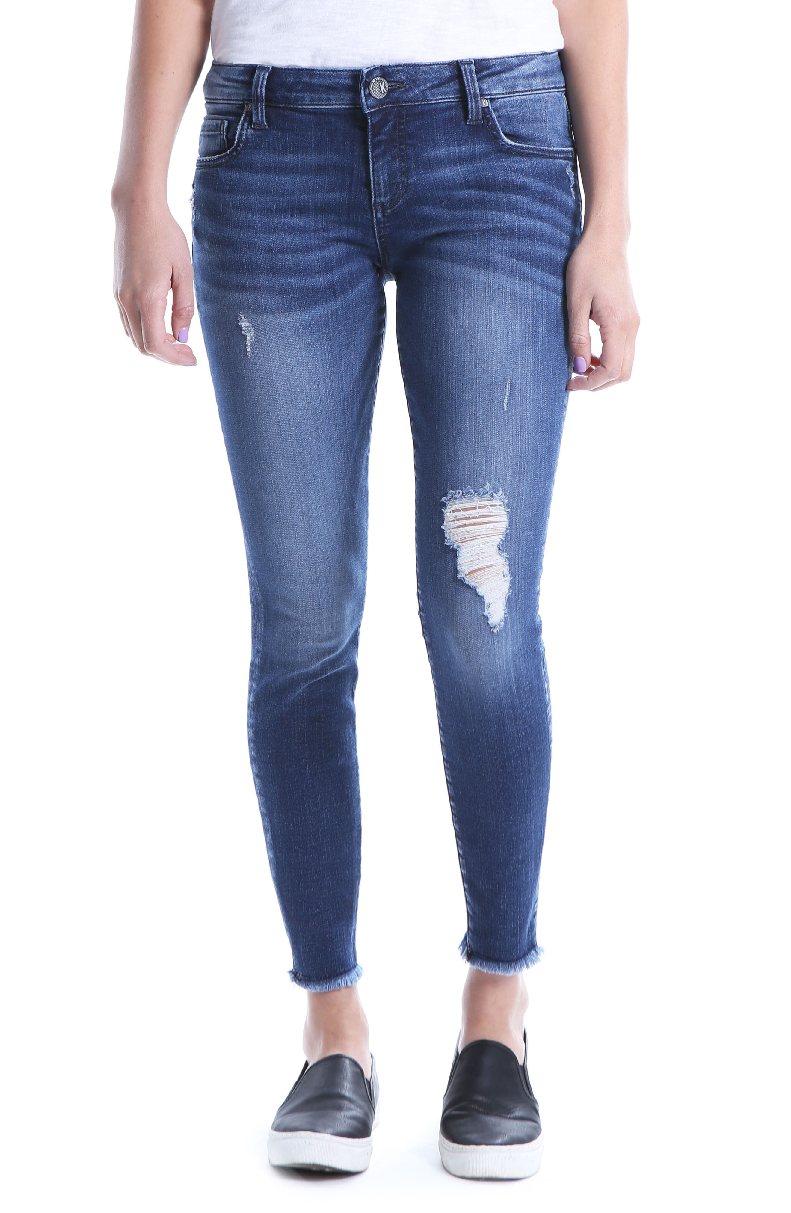 Kut From The Kloth Connie Ripped Ankle Skinny Jeans, Blue