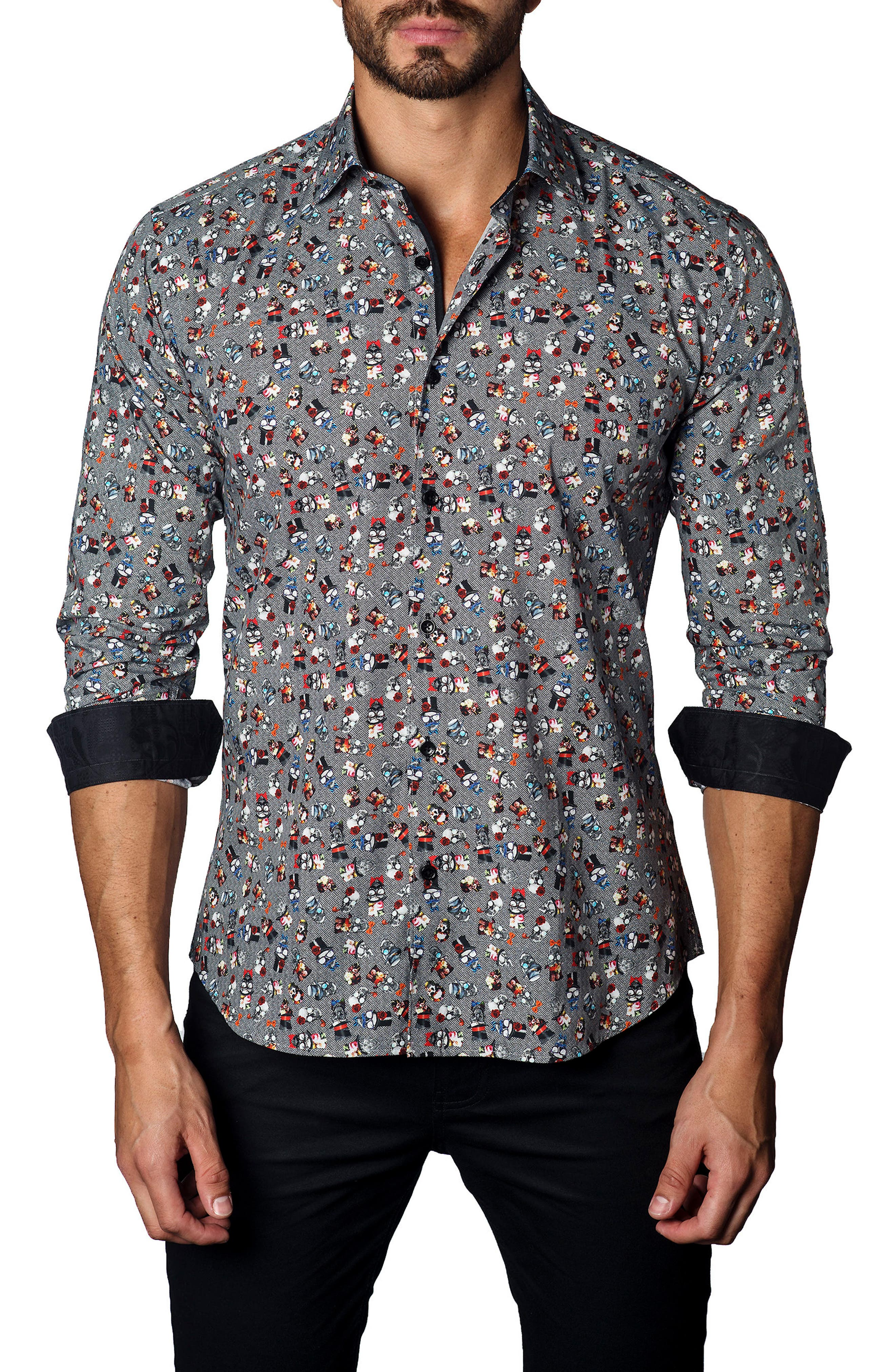 Trim Fit Skull & Bow Ties Sport Shirt,                         Main,                         color, 001