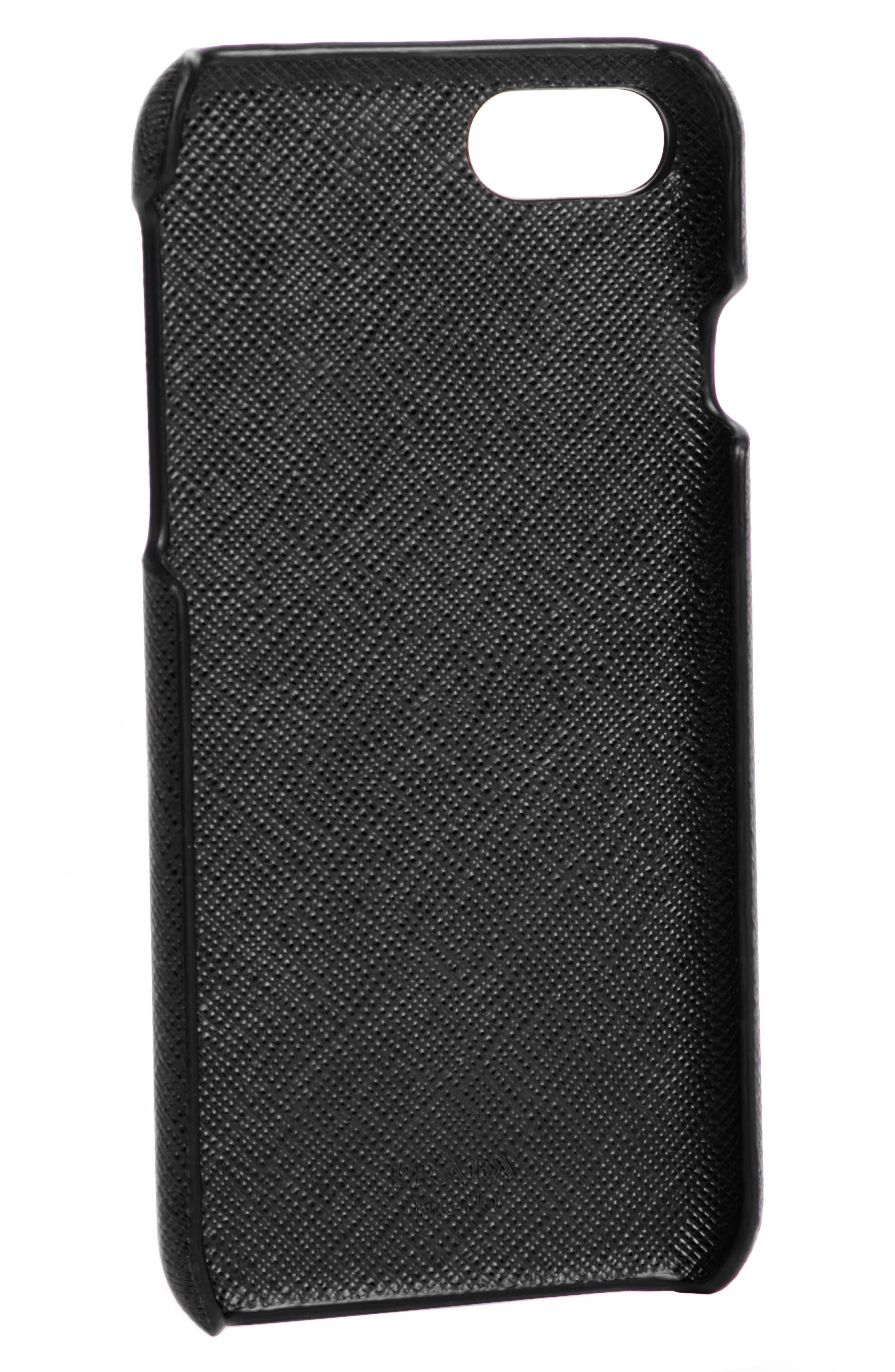 Saffiano Metal Oro iPhone 7 Case,                             Alternate thumbnail 2, color,                             NERO