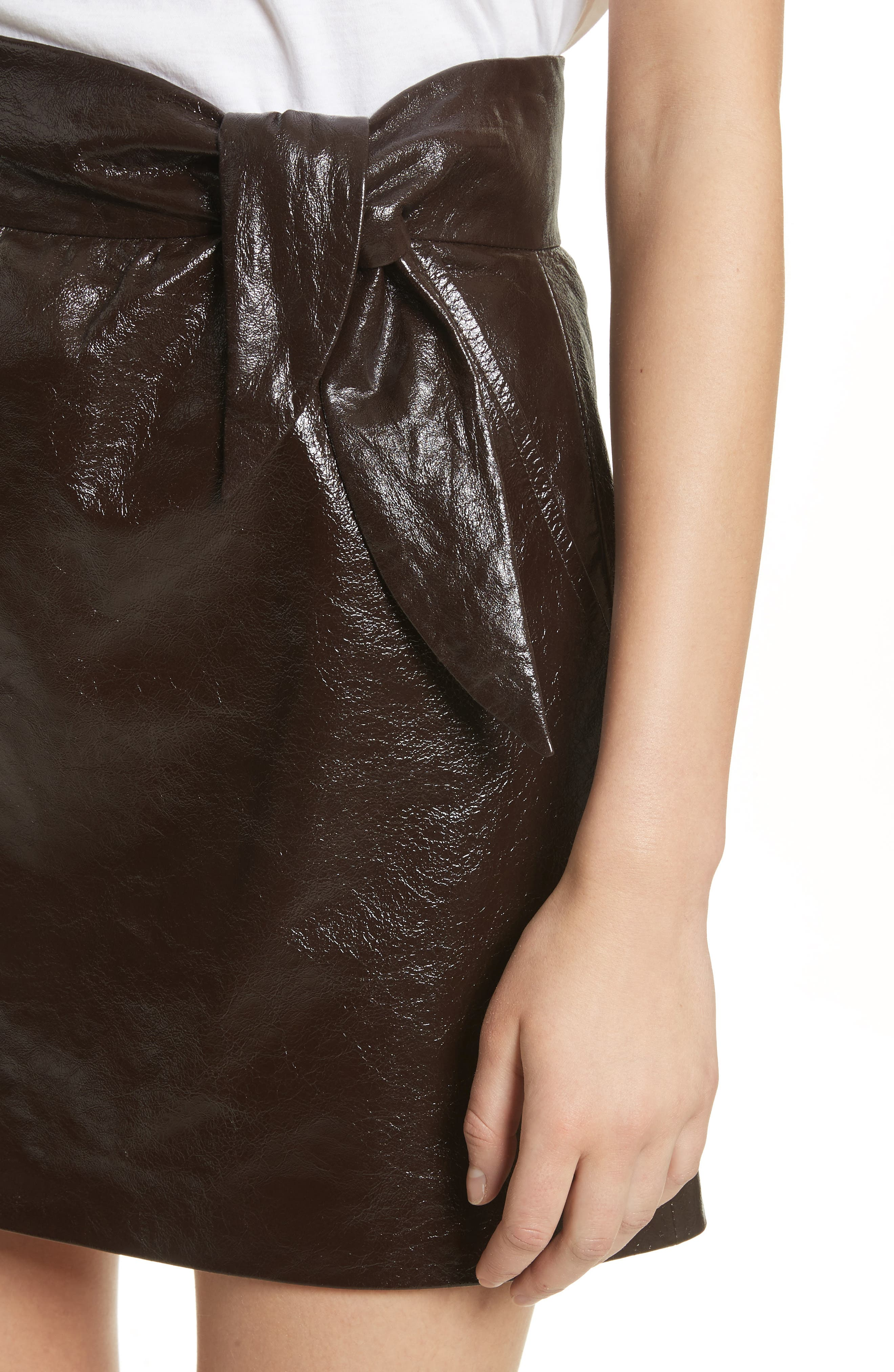 Tate Leather Skirt,                             Alternate thumbnail 4, color,
