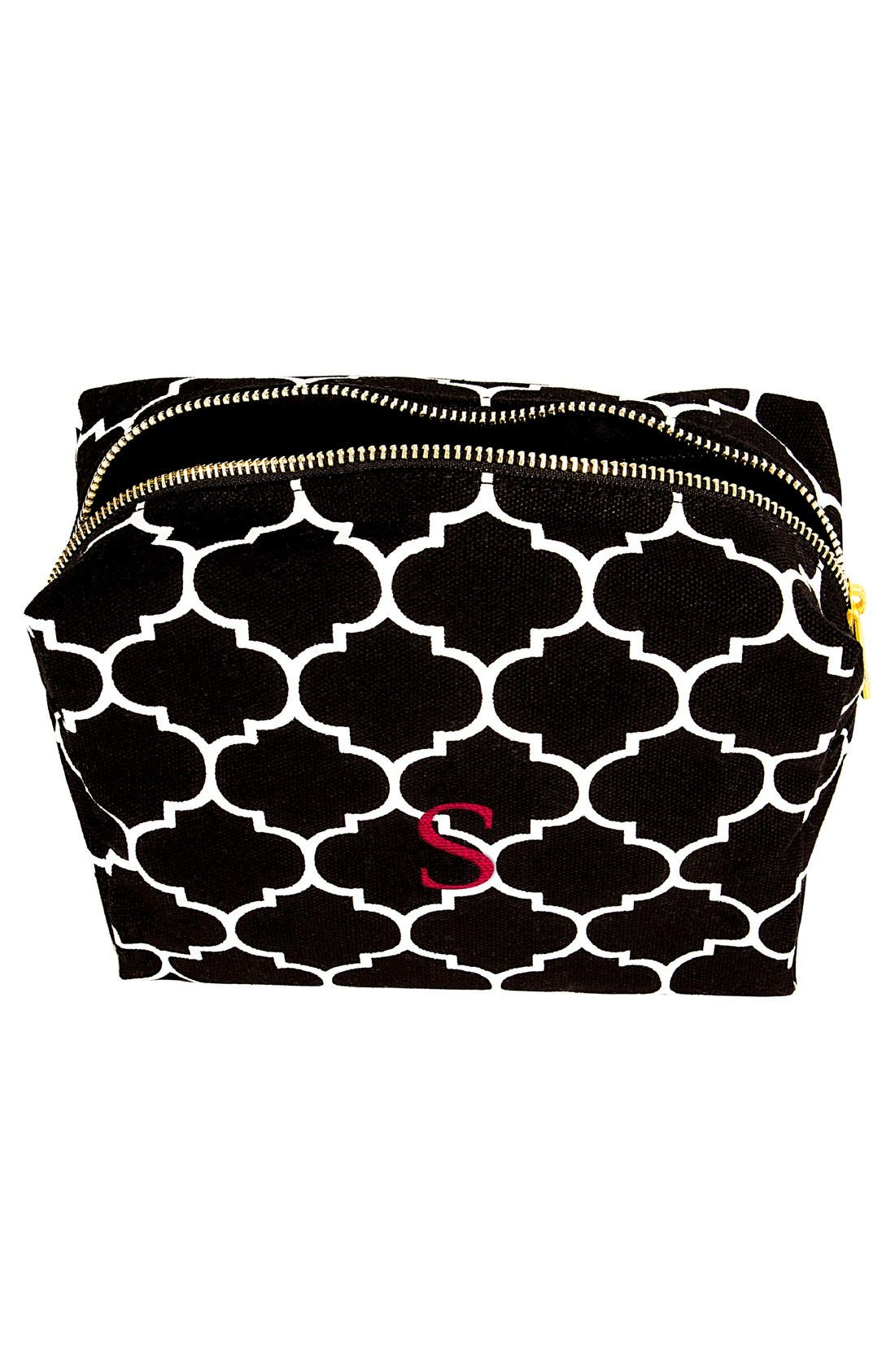 Monogram Cosmetics Bag,                             Alternate thumbnail 4, color,                             BLACK