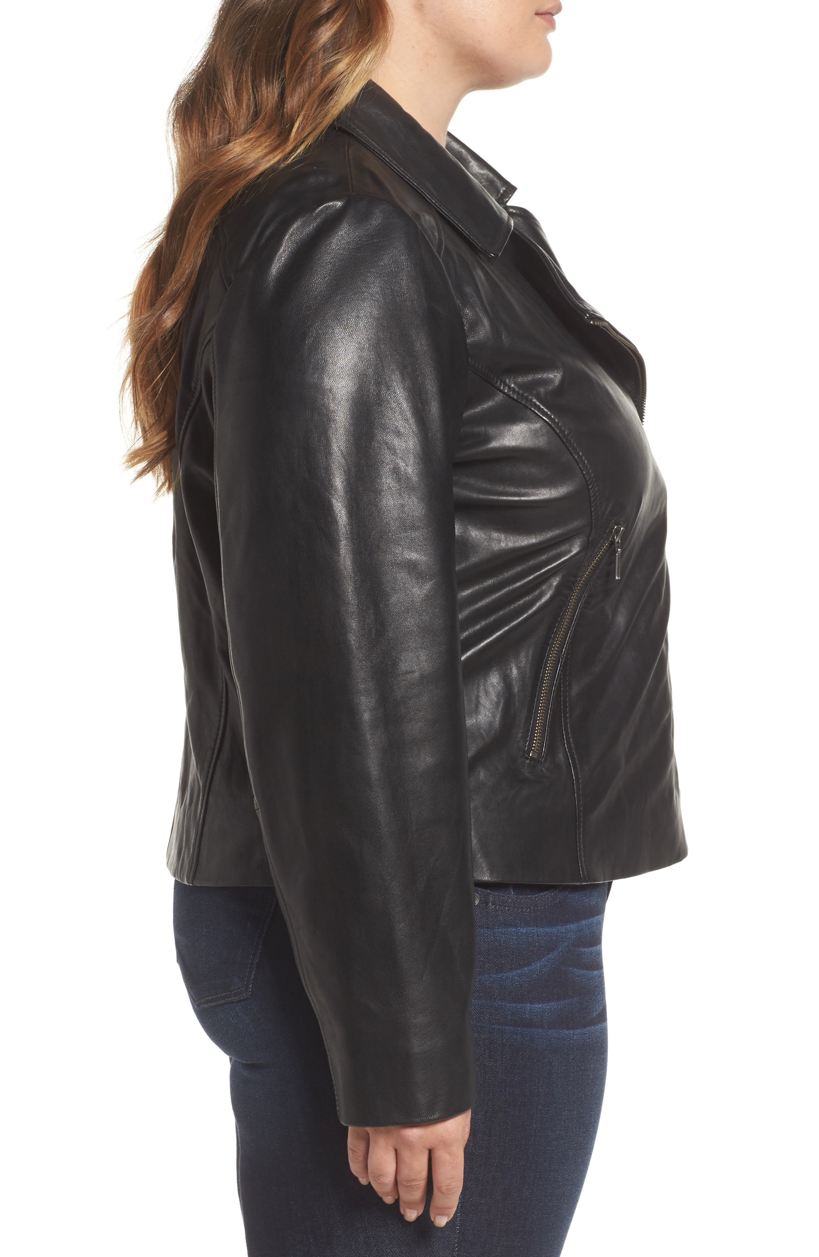 Leather Moto Jacket,                             Alternate thumbnail 11, color,