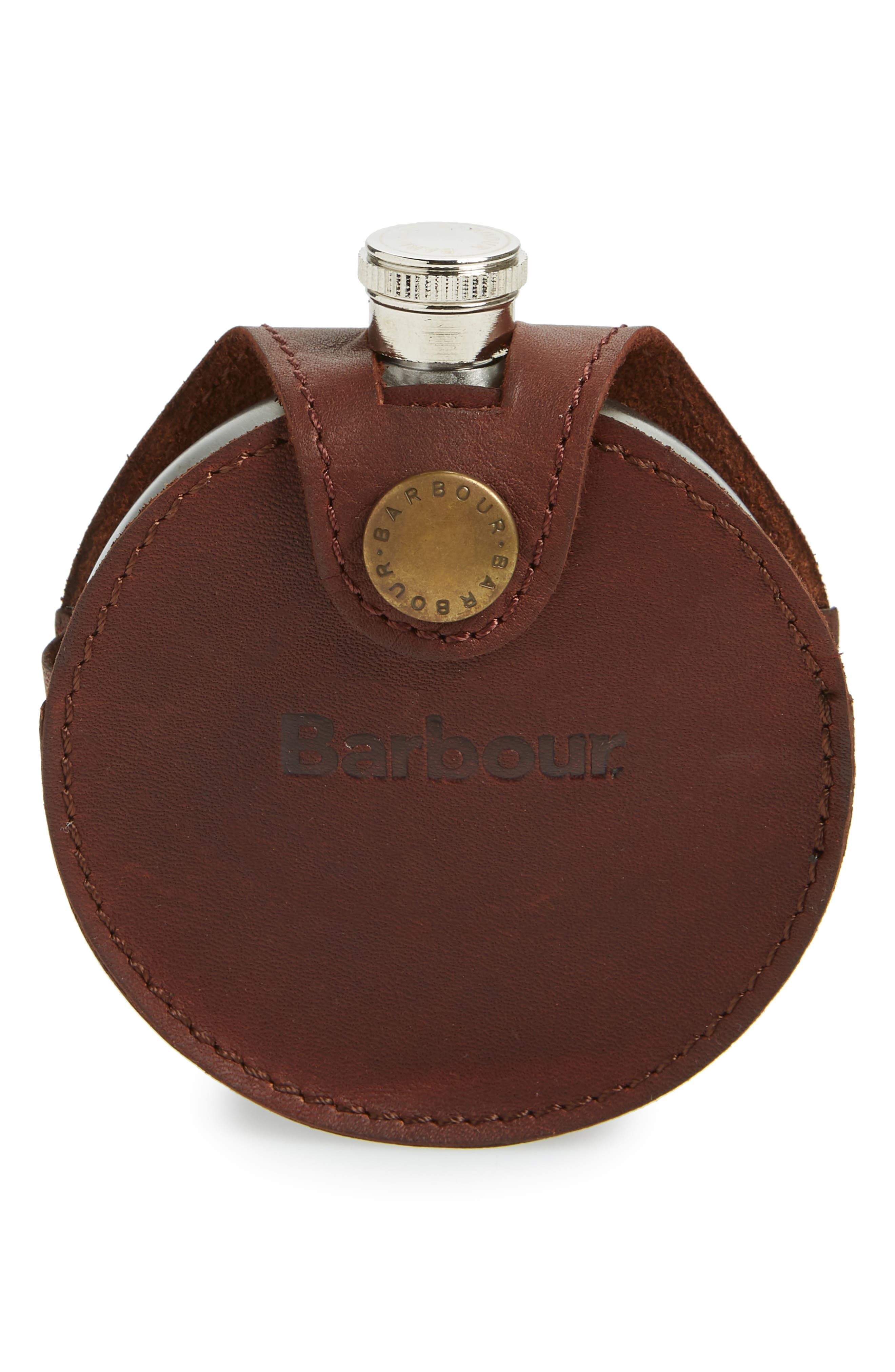Round Hip Flask,                             Main thumbnail 1, color,                             BROWN