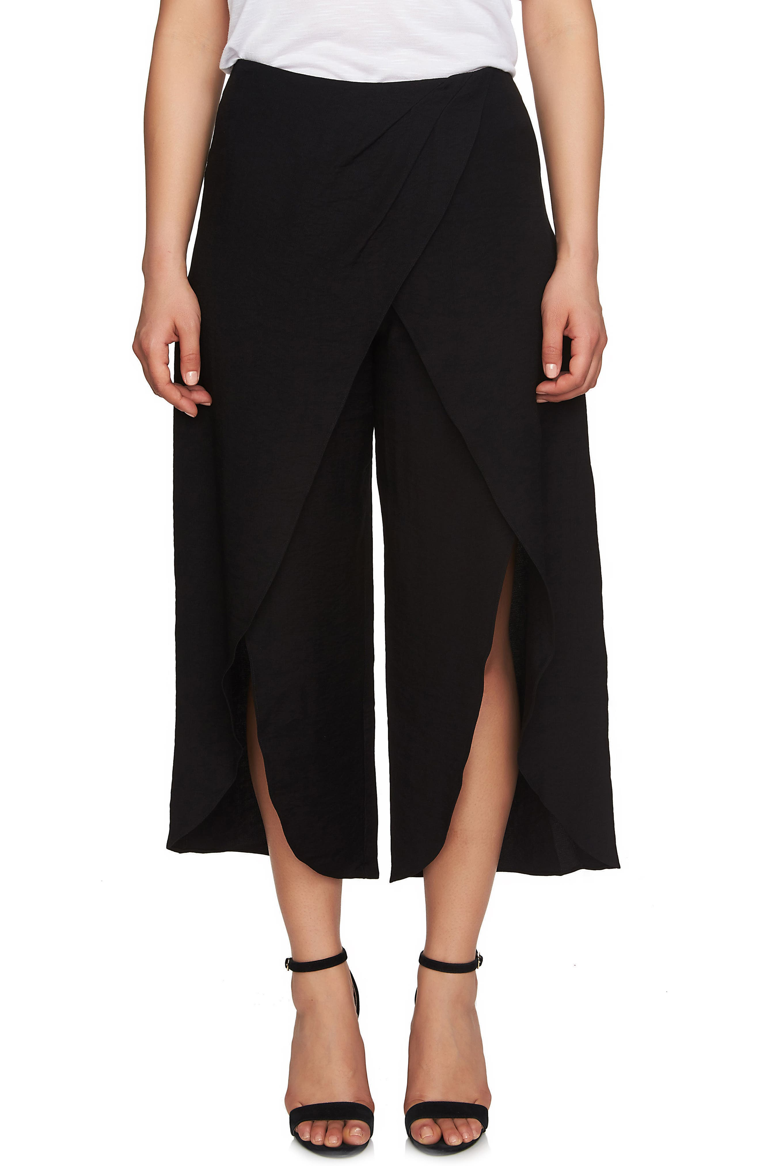 Foldover Front Wide Leg Crop Pants,                         Main,                         color, 006