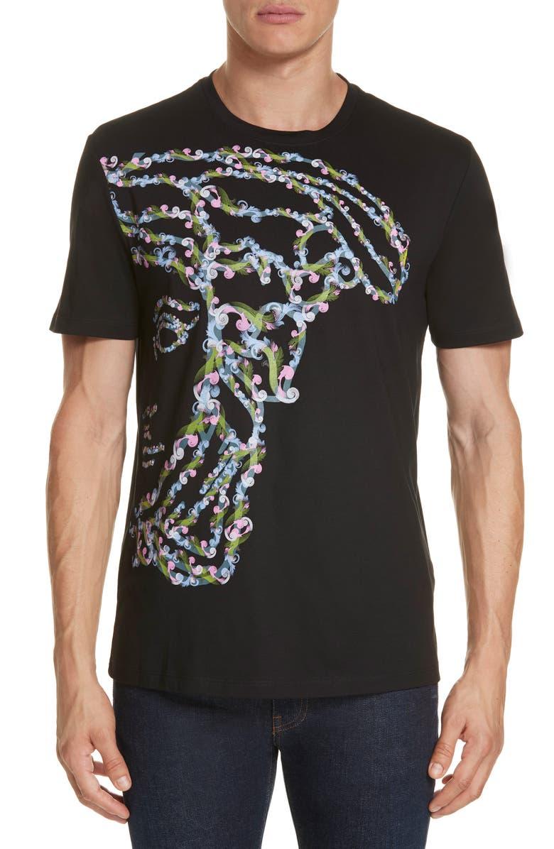 58cedb813 VERSACE COLLECTION Large Medusa Print T-Shirt, Main, color, BLACK/ PAINT