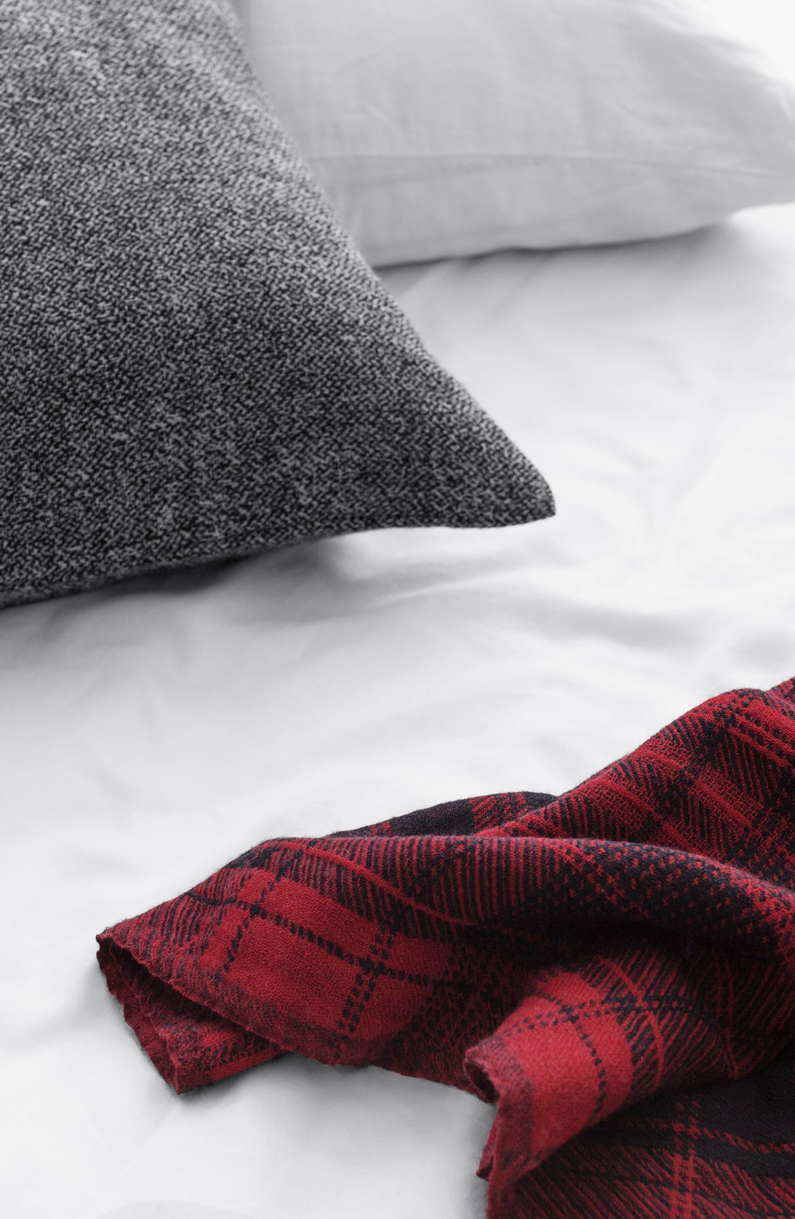 Plaid Double Face Merino Wool Throw,                             Alternate thumbnail 4, color,                             RED BLACK BLANKET PLAID