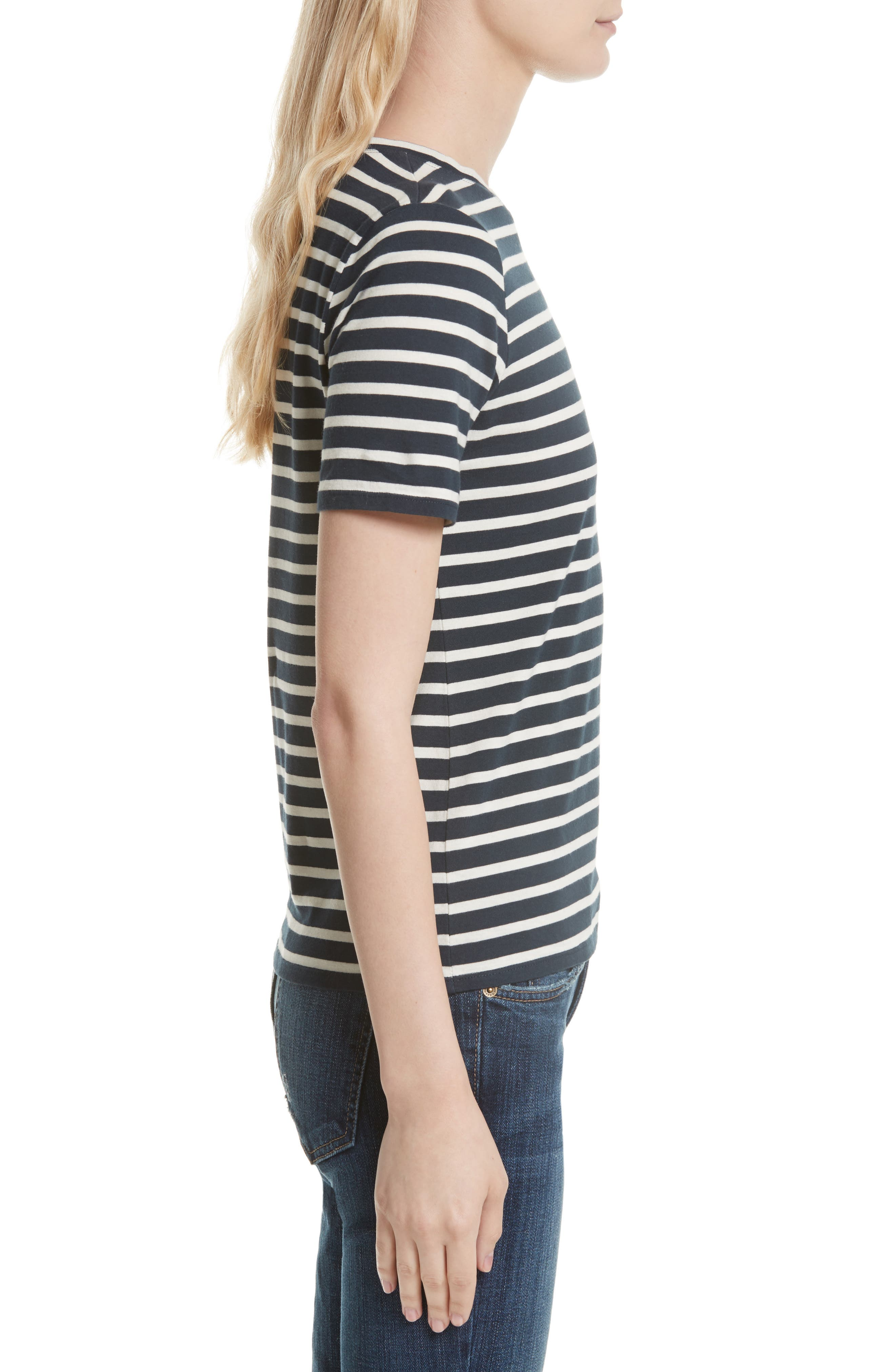 The Modern Stripe Cotton Tee,                             Alternate thumbnail 3, color,                             NAVY/ CREAM