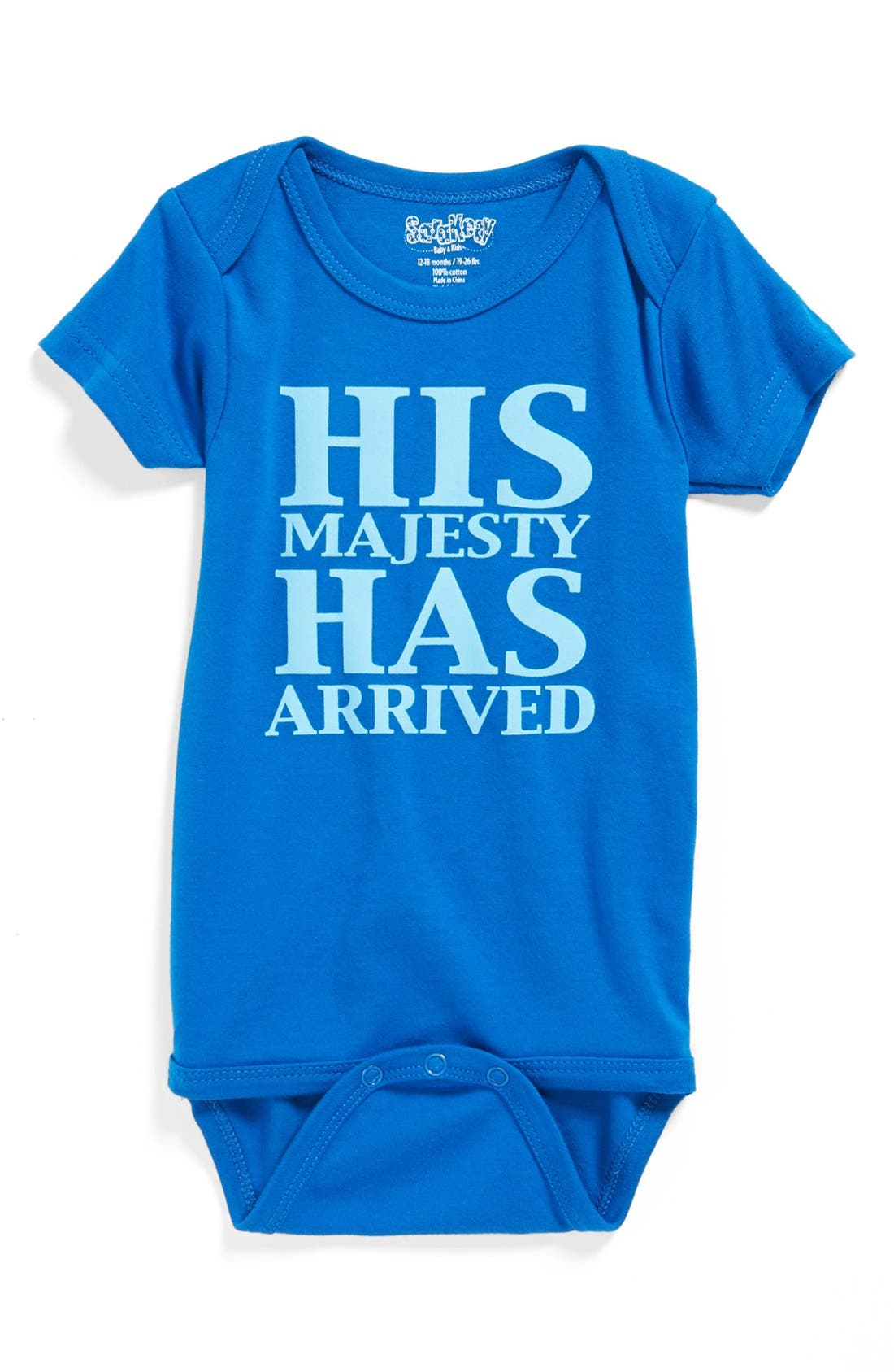 'His Majesty Has Arrived' Bodysuit,                             Main thumbnail 1, color,                             ROYAL BLUE