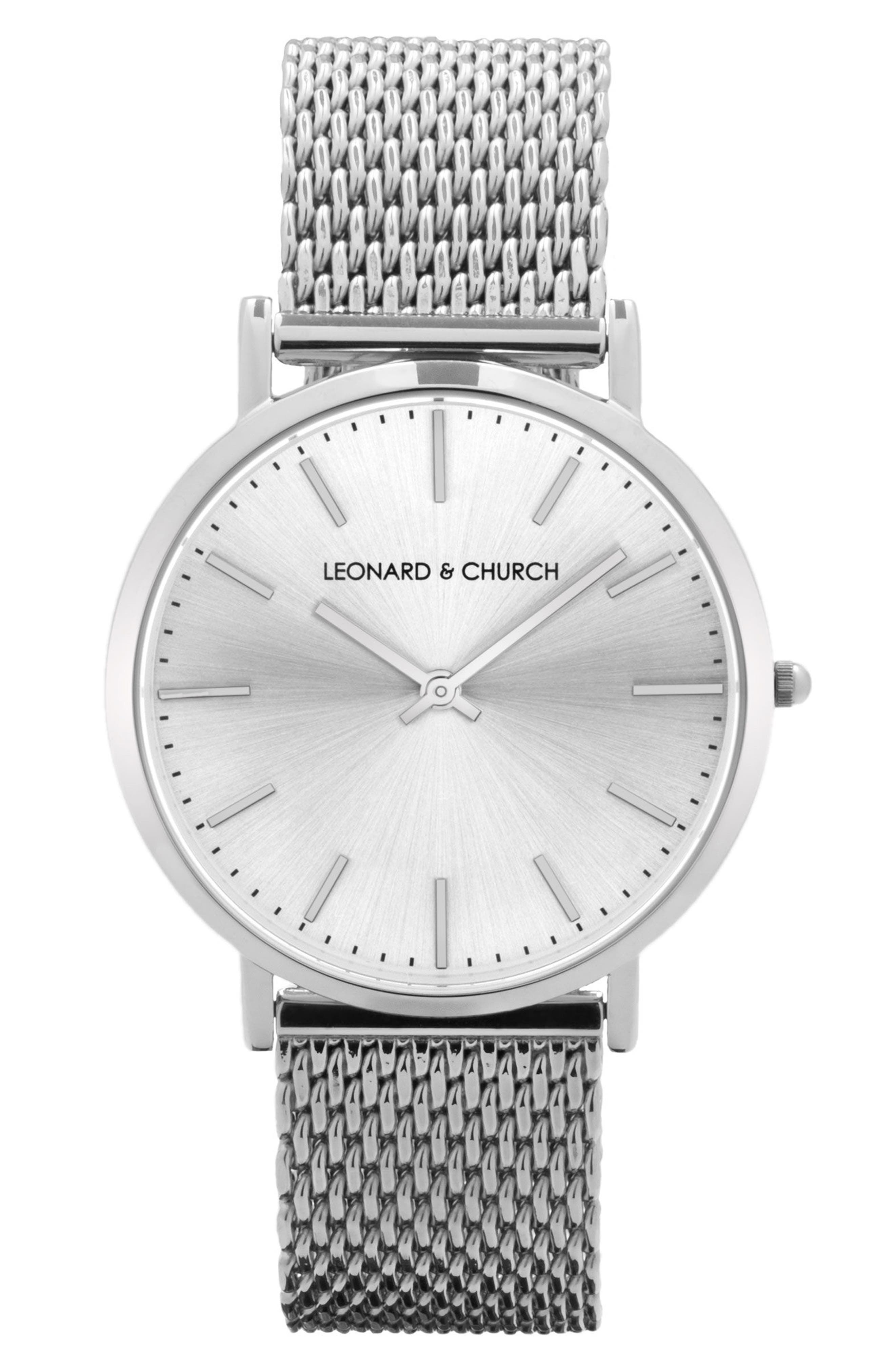 Leonard & Church Varick Mesh Strap Watch, 40mm,                             Main thumbnail 1, color,                             SILVER