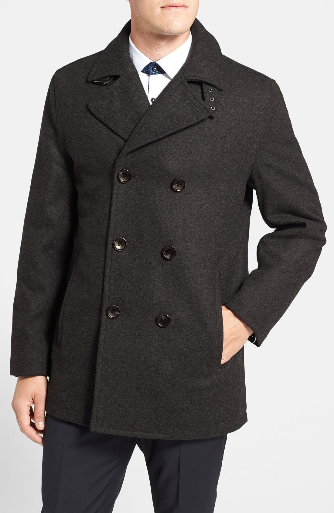 Wool Blend Double Breasted Peacoat,                             Main thumbnail 3, color,