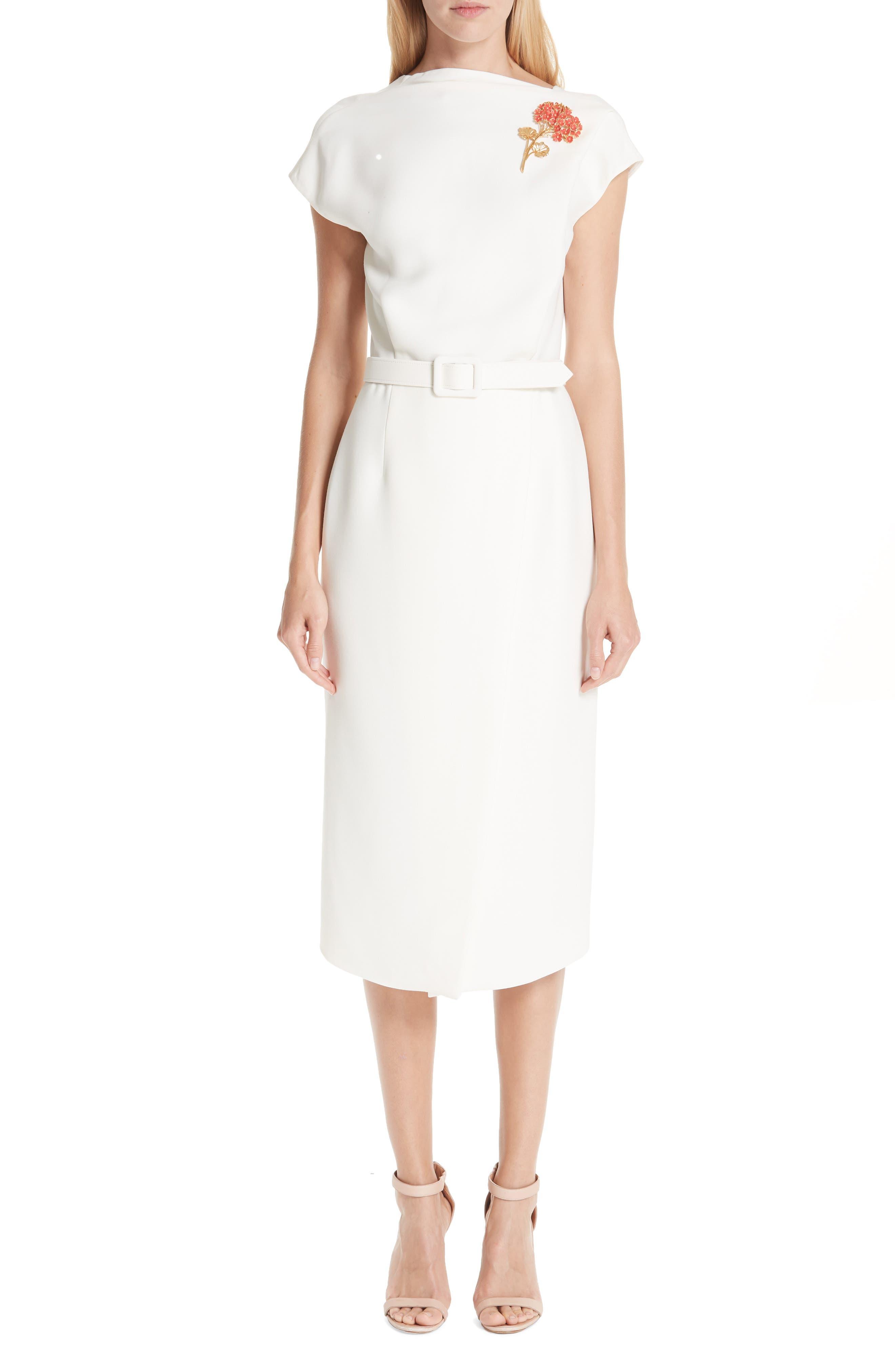 Oscar De La Renta Flower Brooch Belted Wool & Silk Midi Dress, Ivory