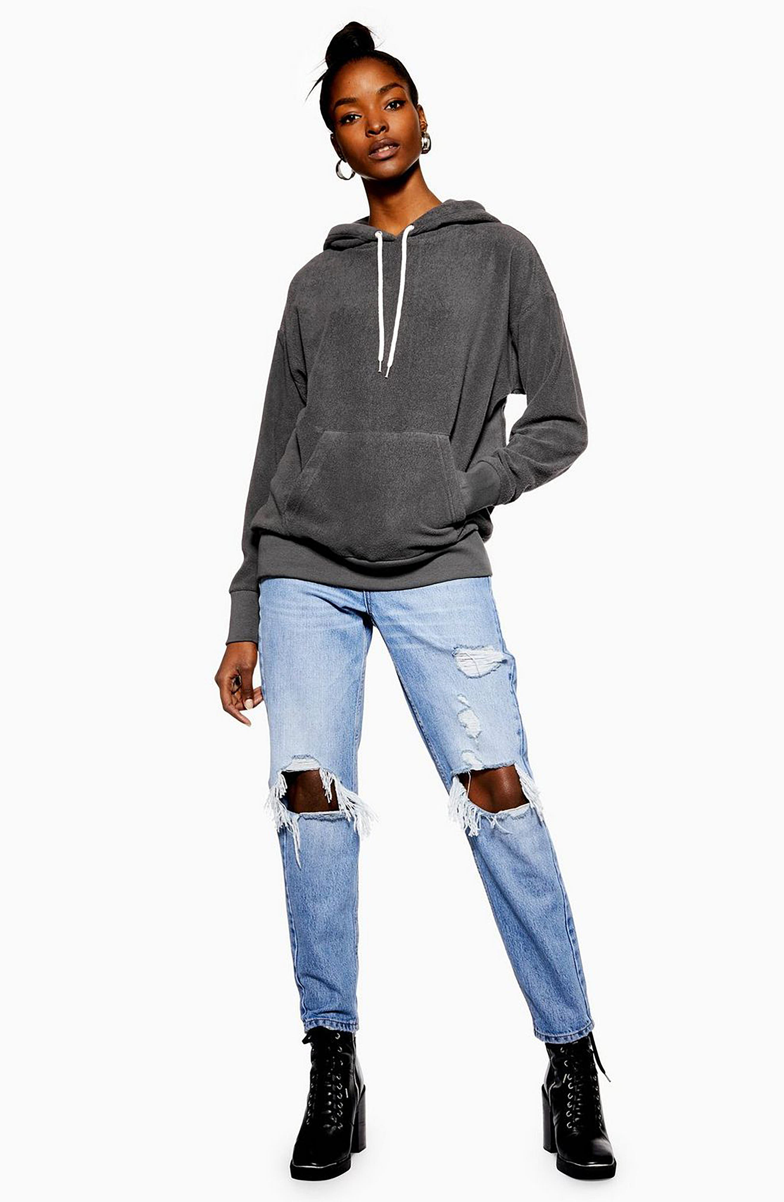 Bobbly Textured Hoodie,                             Alternate thumbnail 4, color,                             CHARCOAL