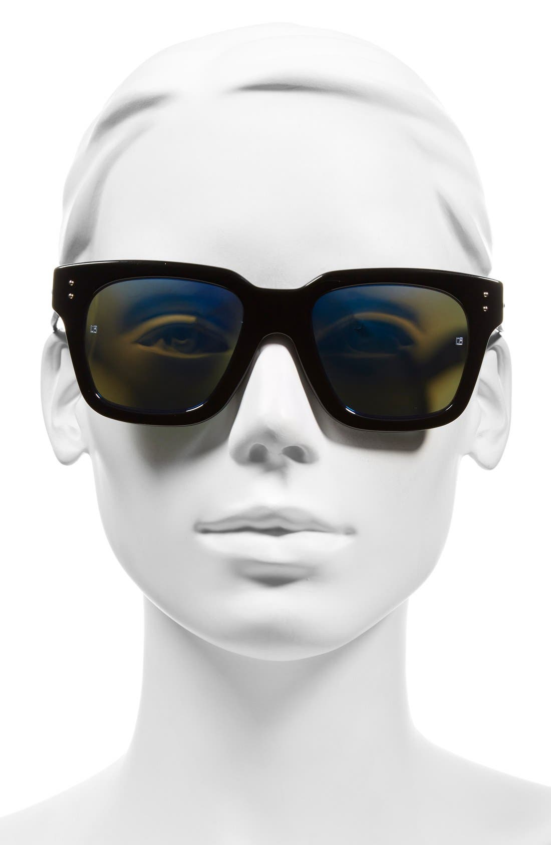 'D-Frame' 52mm Mirrored Lens Sunglasses,                             Alternate thumbnail 2, color,                             001