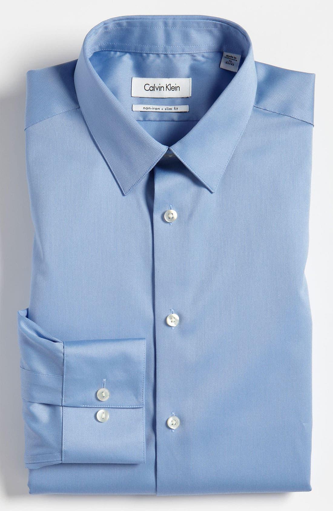 Slim Fit Non-Iron Dress Shirt,                             Main thumbnail 4, color,