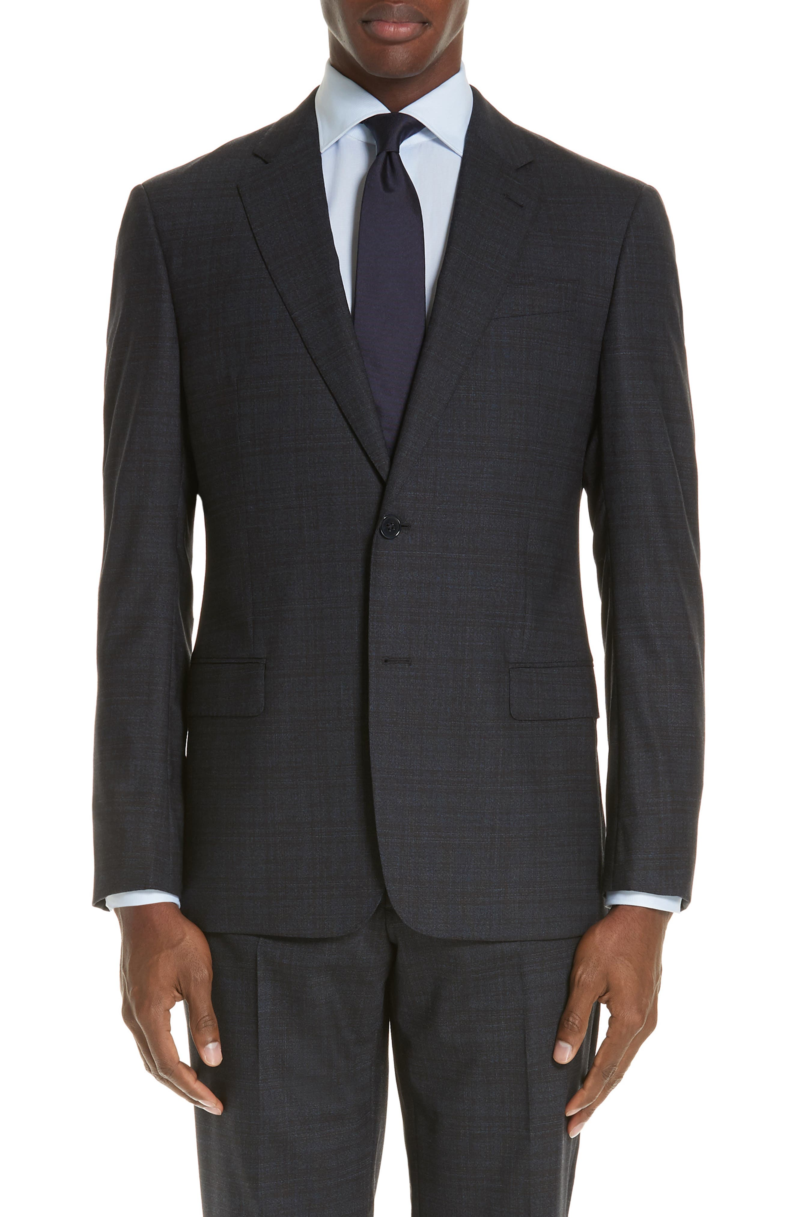 G-Line Trim Fit Stretch Plaid Wool Suit,                             Alternate thumbnail 5, color,                             NAVY/ BROWN