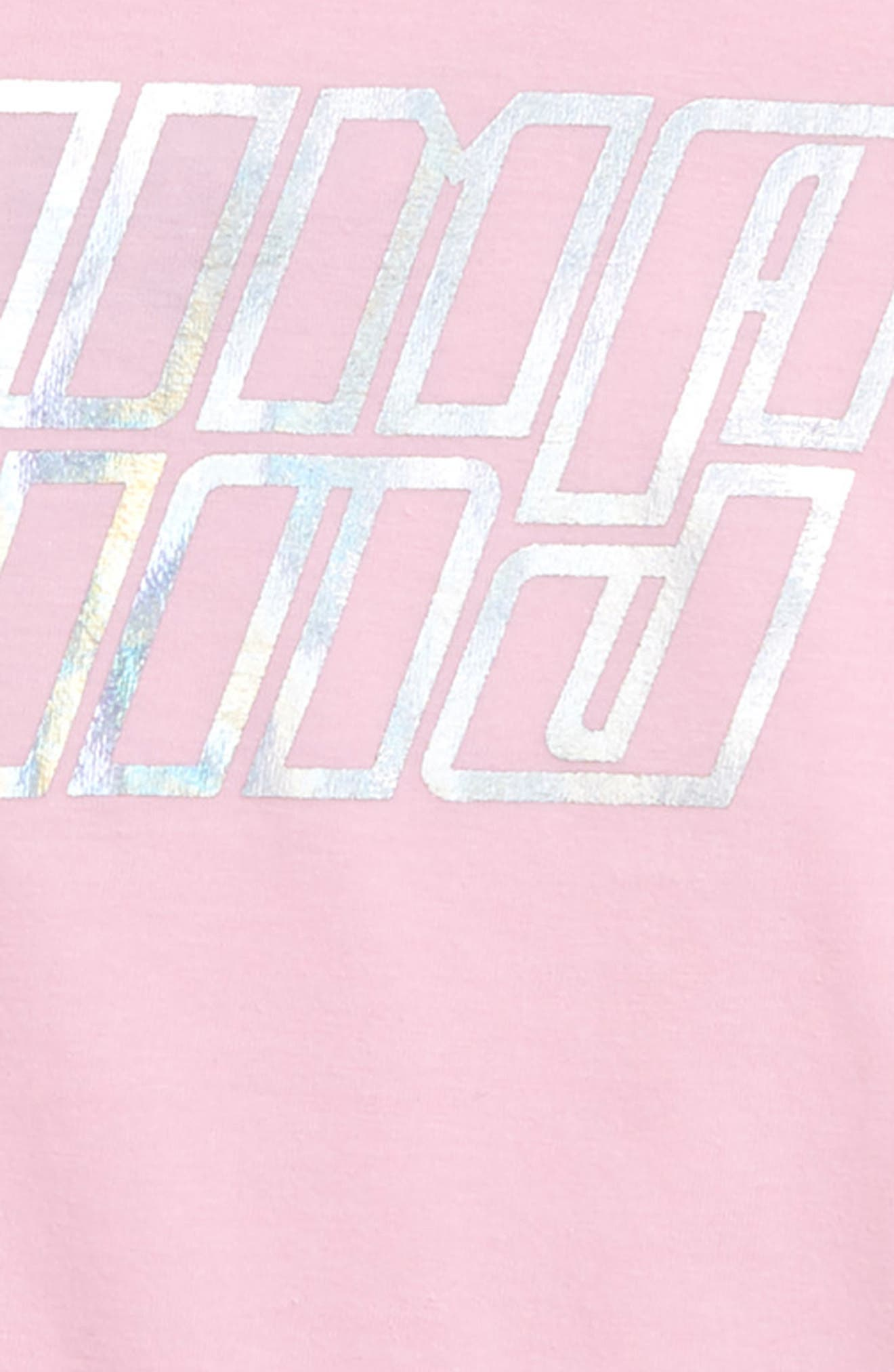 PUMA,                             Twist Back Crop Logo Tee,                             Alternate thumbnail 3, color,                             PALE PINK