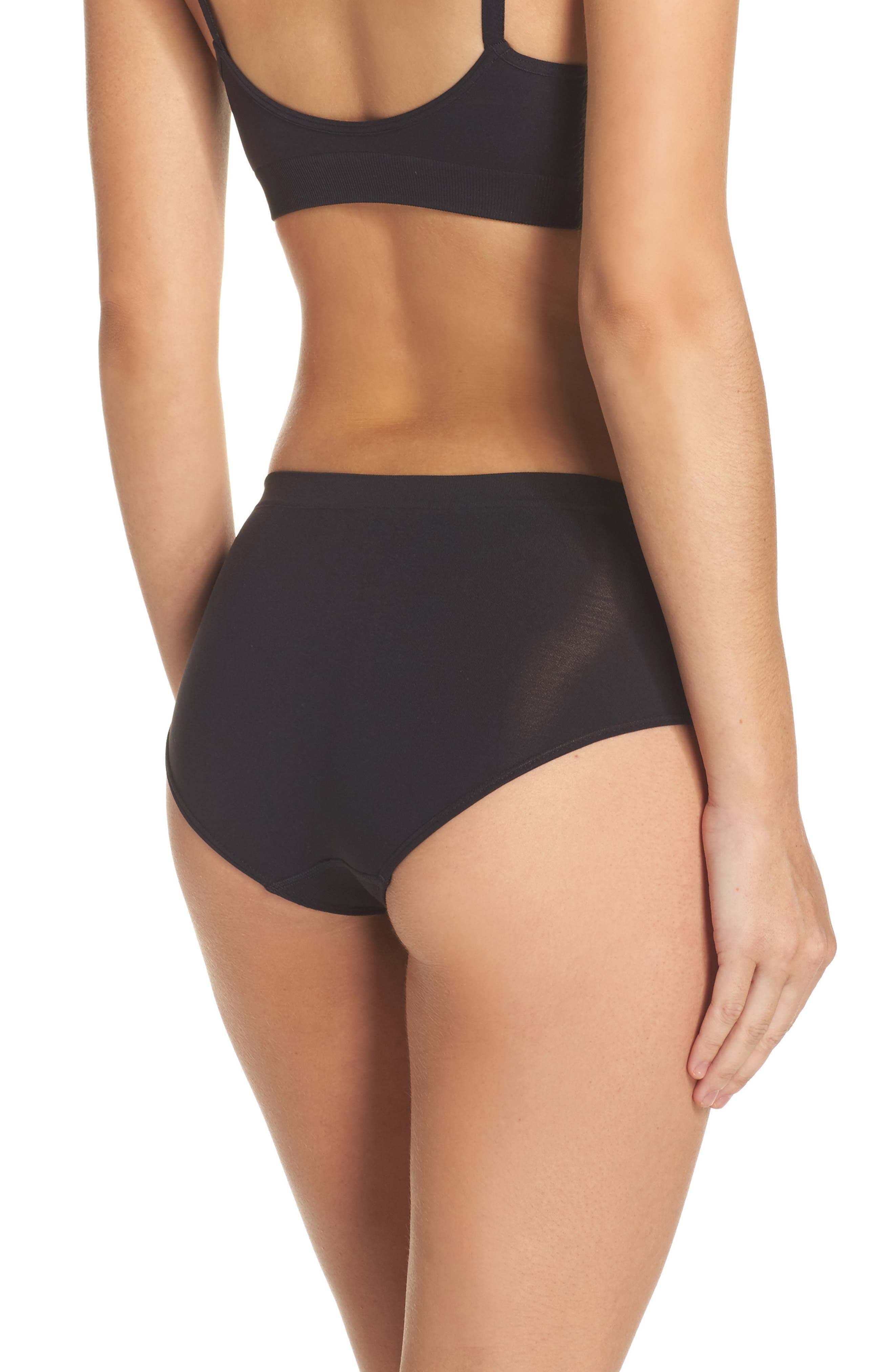 Seamless Hipster Briefs,                             Alternate thumbnail 2, color,                             BLACK