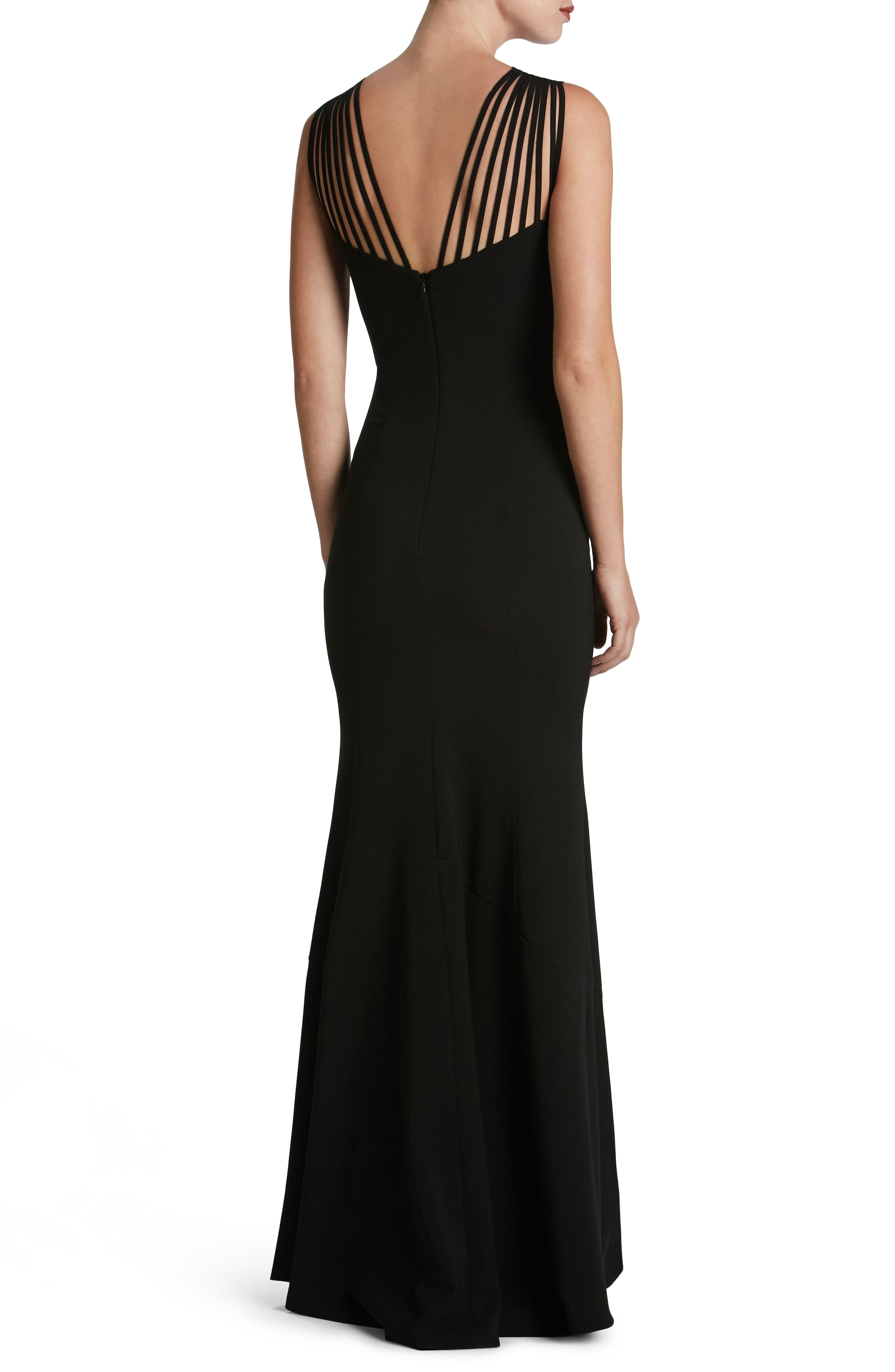 Harlow Crepe Gown,                             Alternate thumbnail 2, color,                             001