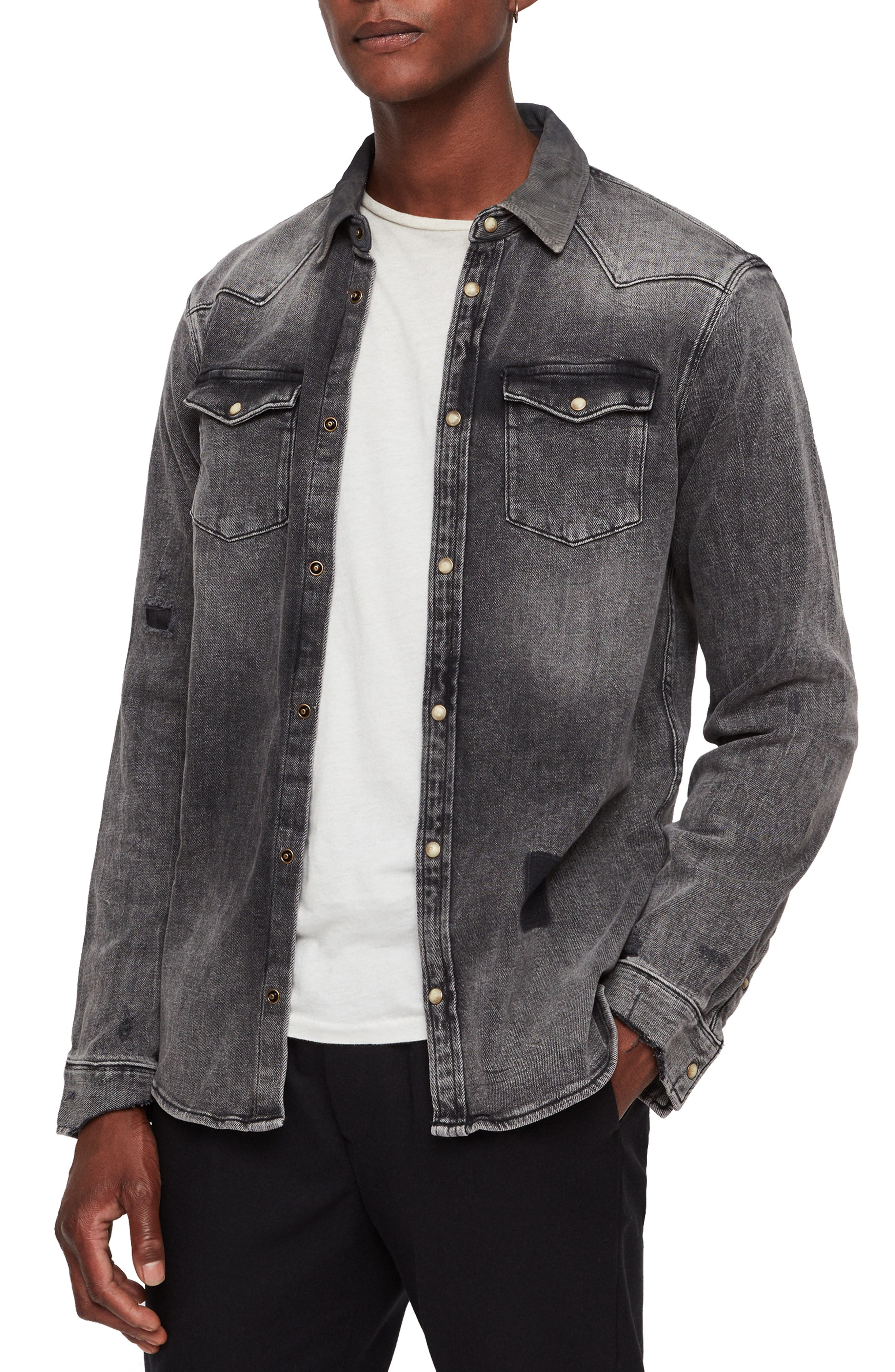 ALLSAINTS Glockeley Slim Fit Western Denim Shirt in Faded Black