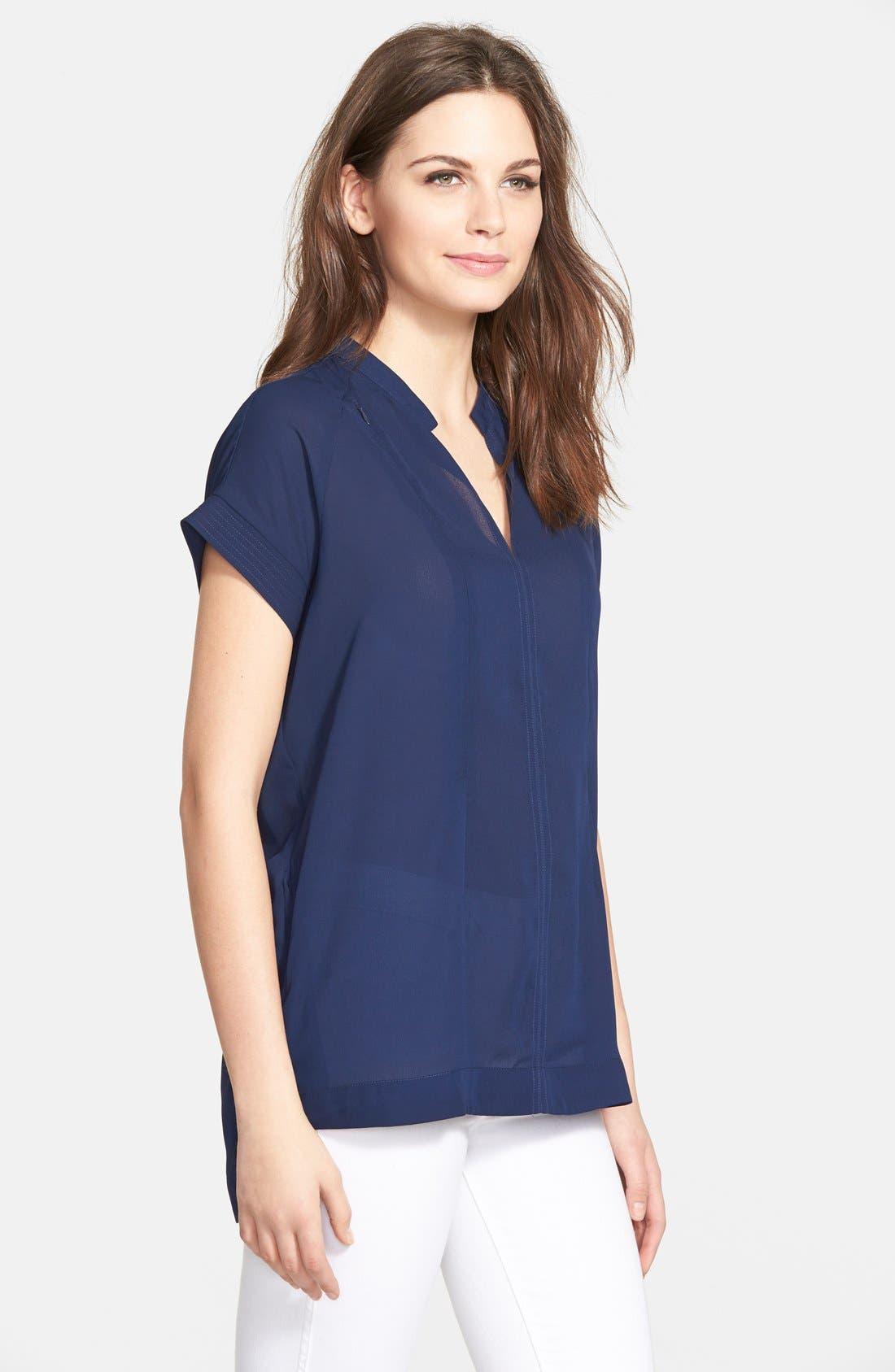 'Carrie' V-Neck Maternity Top,                             Alternate thumbnail 4, color,                             NAVY