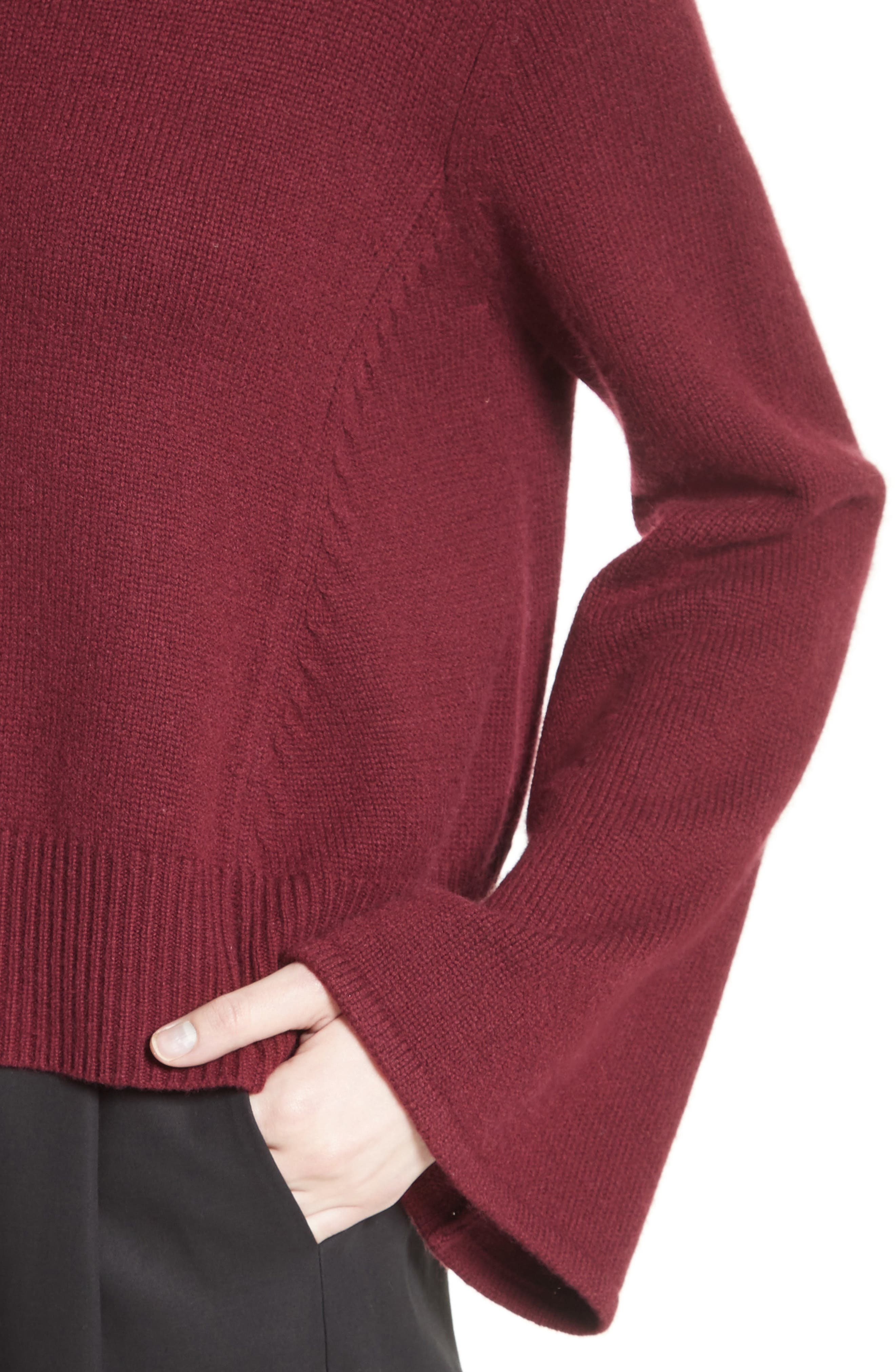 Bell Sleeve Wool & Cashmere Sweater,                             Alternate thumbnail 4, color,                             930