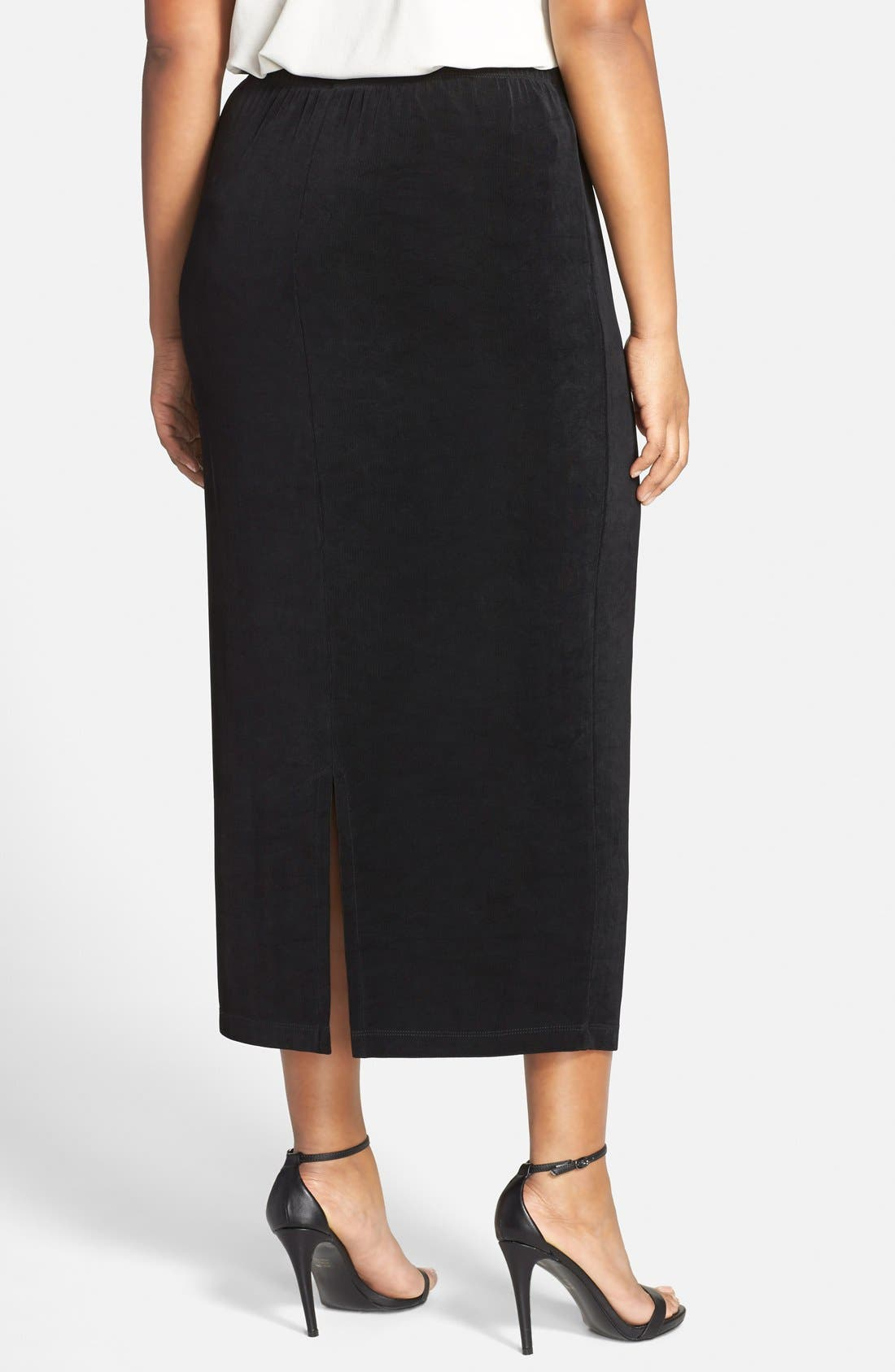 Stretch Knit Straight Maxi Skirt,                             Alternate thumbnail 2, color,                             BLACK