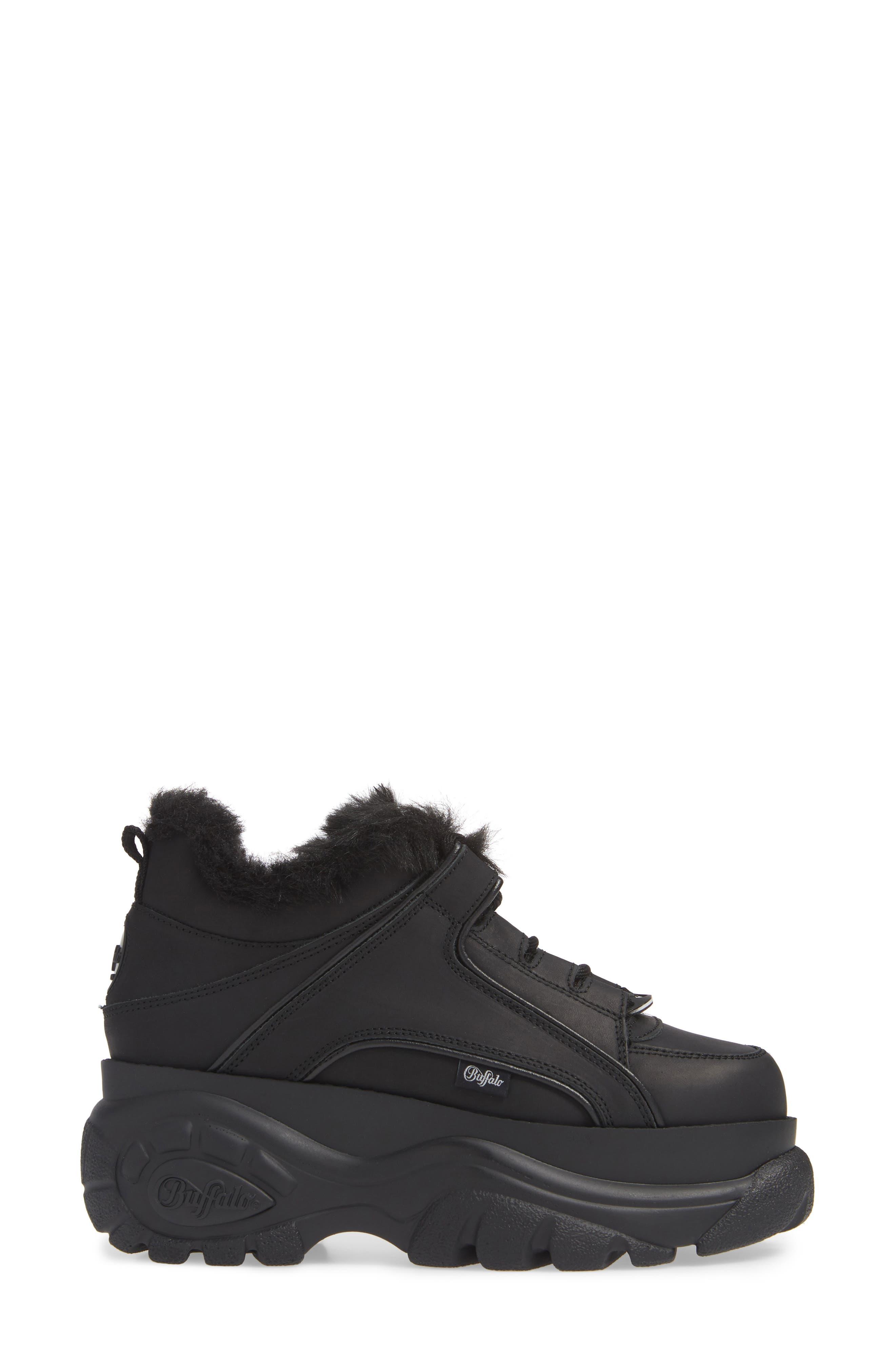 x Buffalo Platform Sneaker with Faux Fur Trim,                             Alternate thumbnail 3, color,                             001