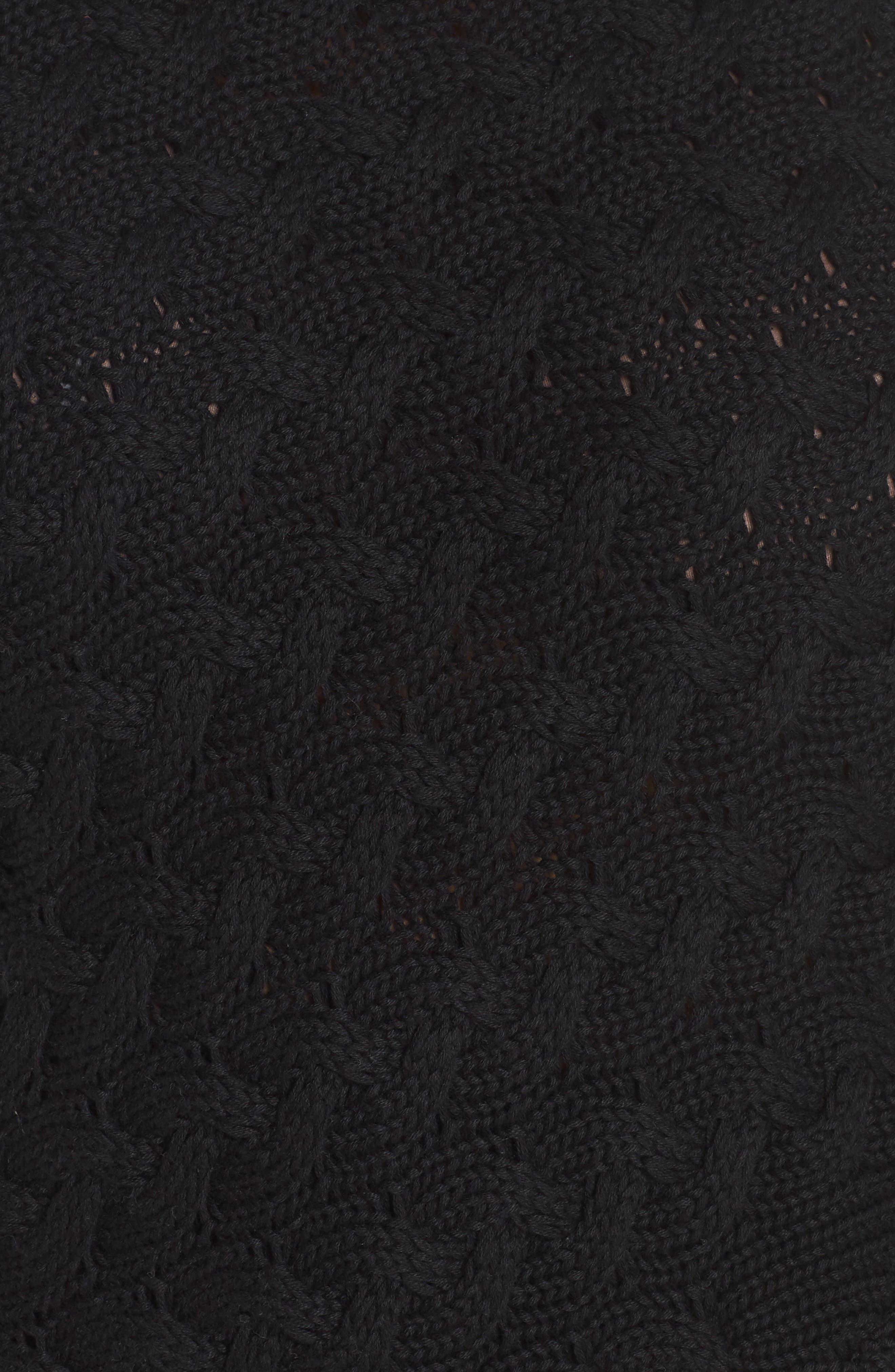 Contrast Trim Cable Sweater,                             Alternate thumbnail 5, color,                             RICH BLACK