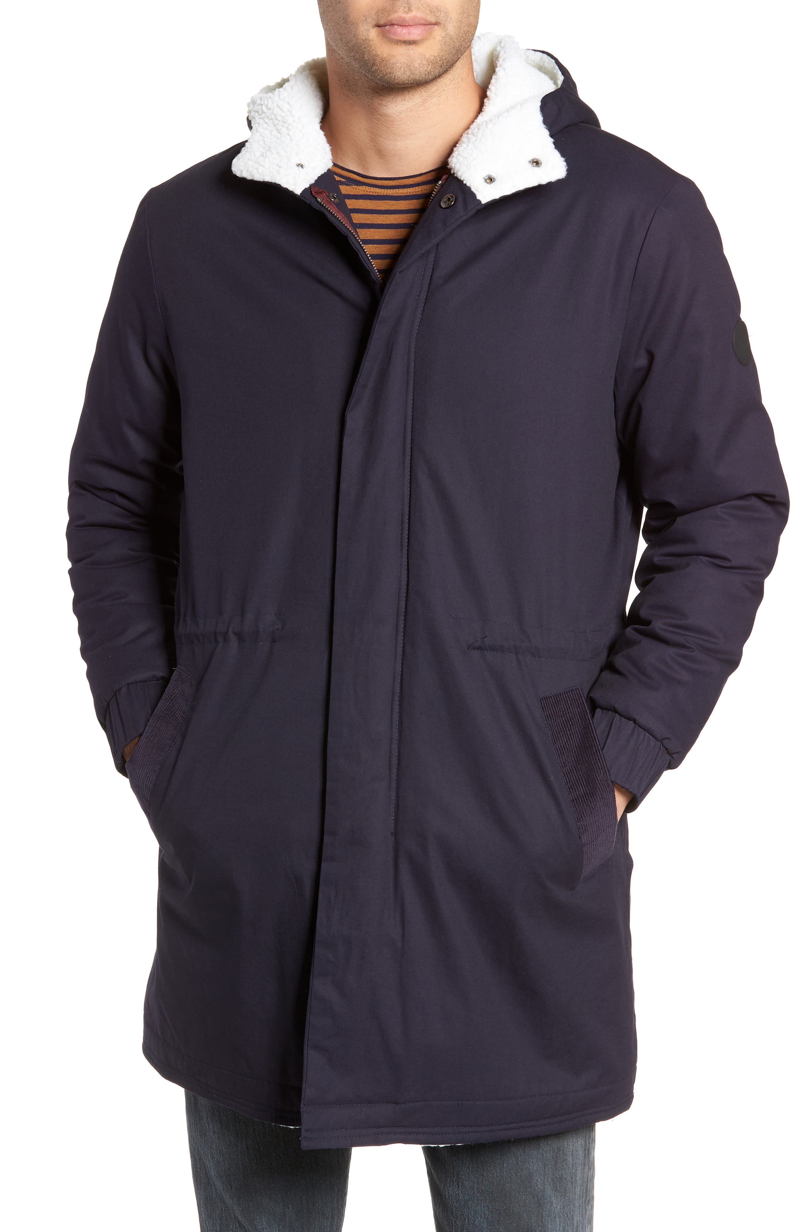 Fleece Lined Hooded Parka,                             Alternate thumbnail 4, color,                             NAVY