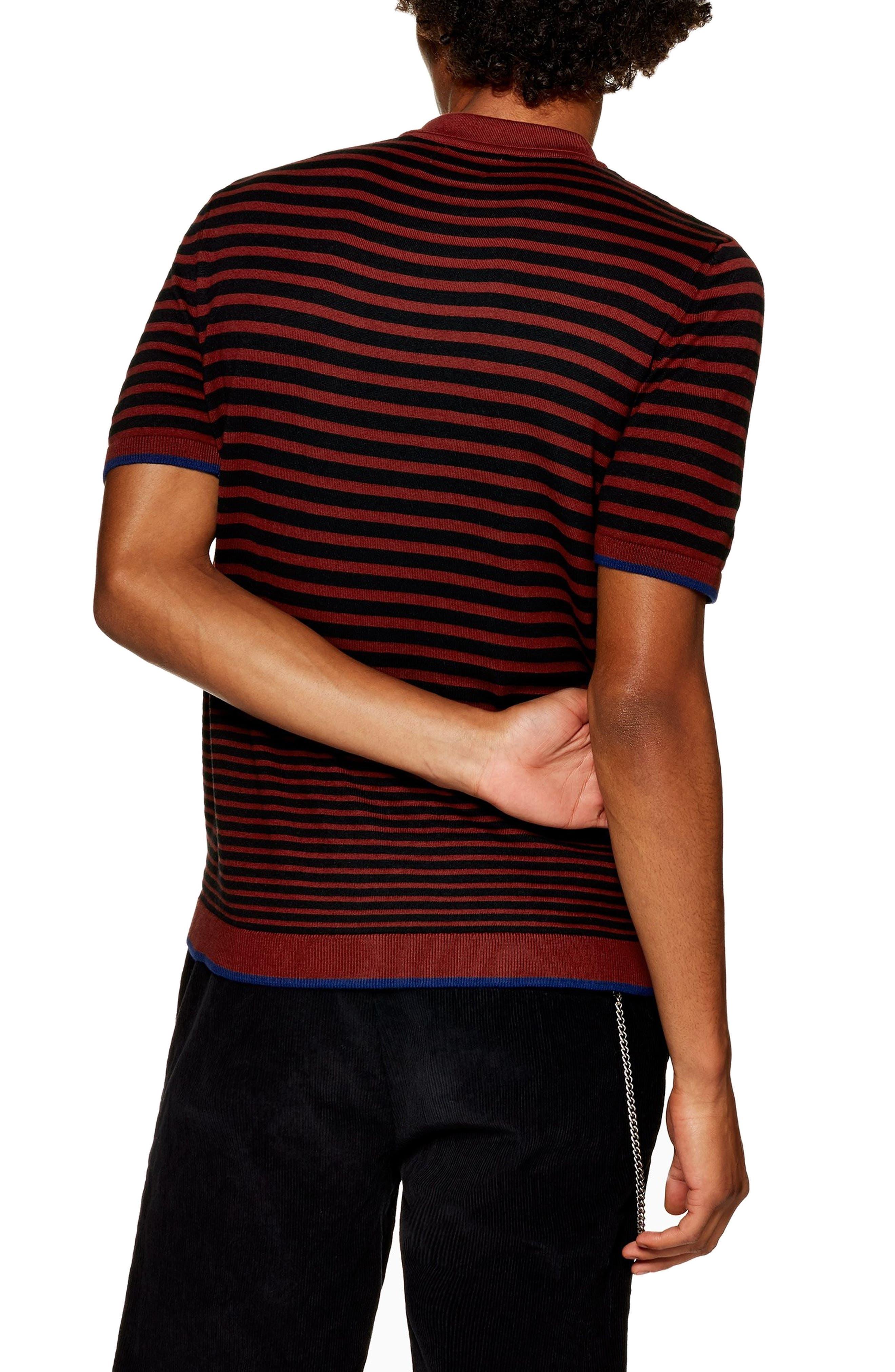 Stripe Classic Fit Polo,                             Alternate thumbnail 2, color,                             BROWN MULTI