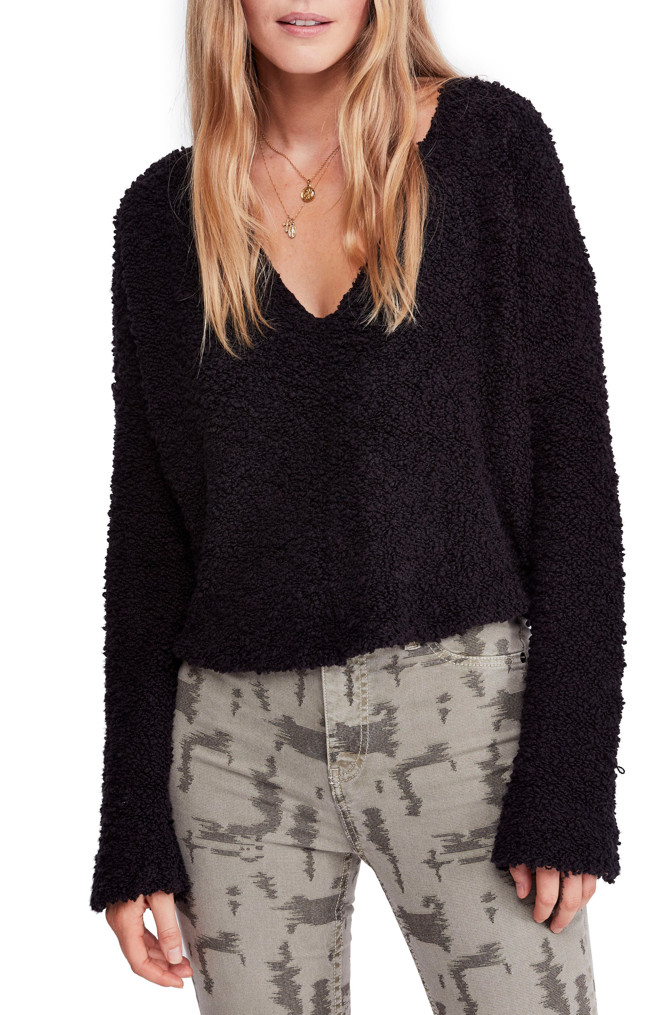 Popcorn Sweater,                         Main,                         color, BLACK