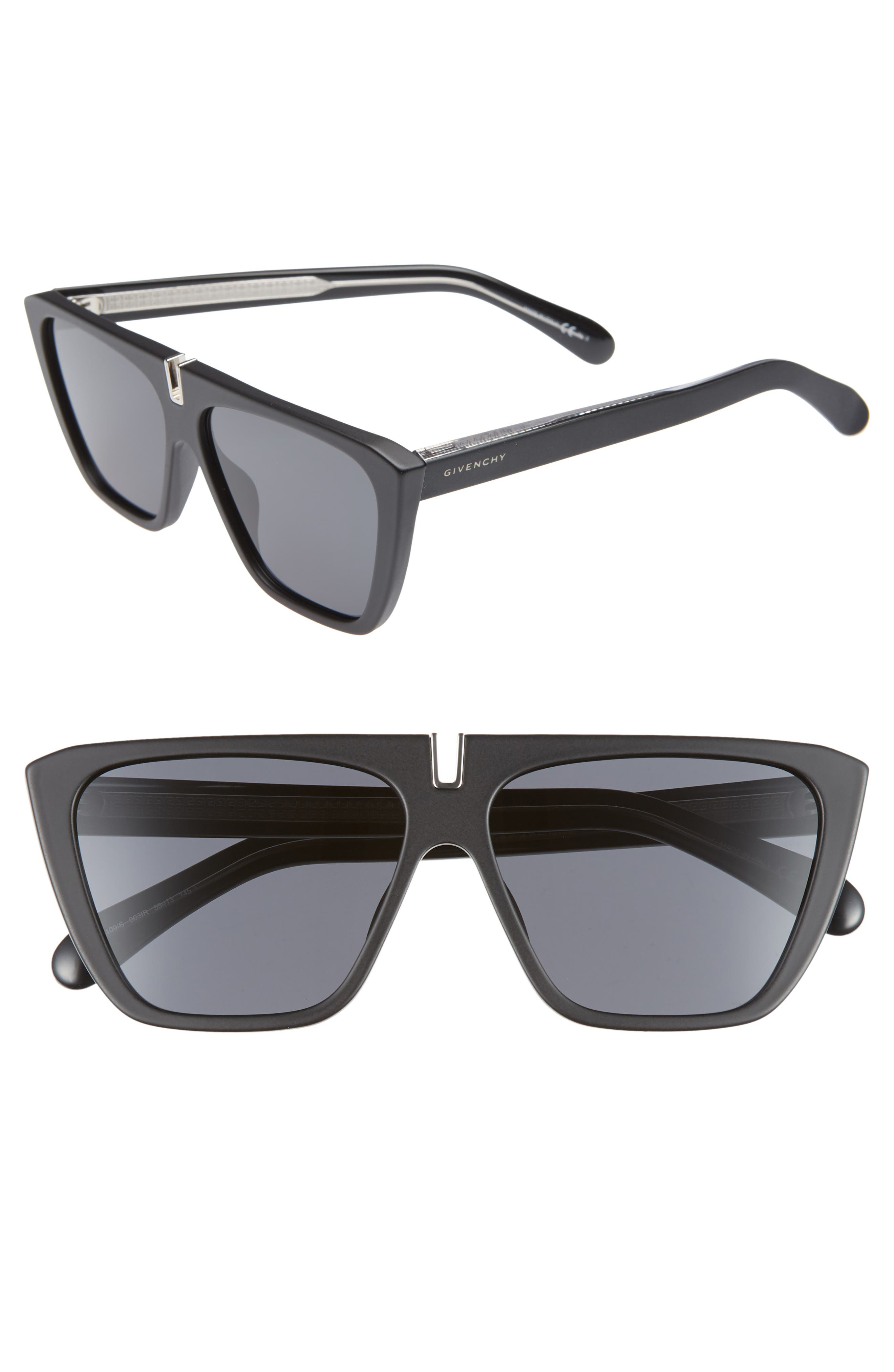 58mm Flat Top Sunglasses,                         Main,                         color, MATTE BLACK