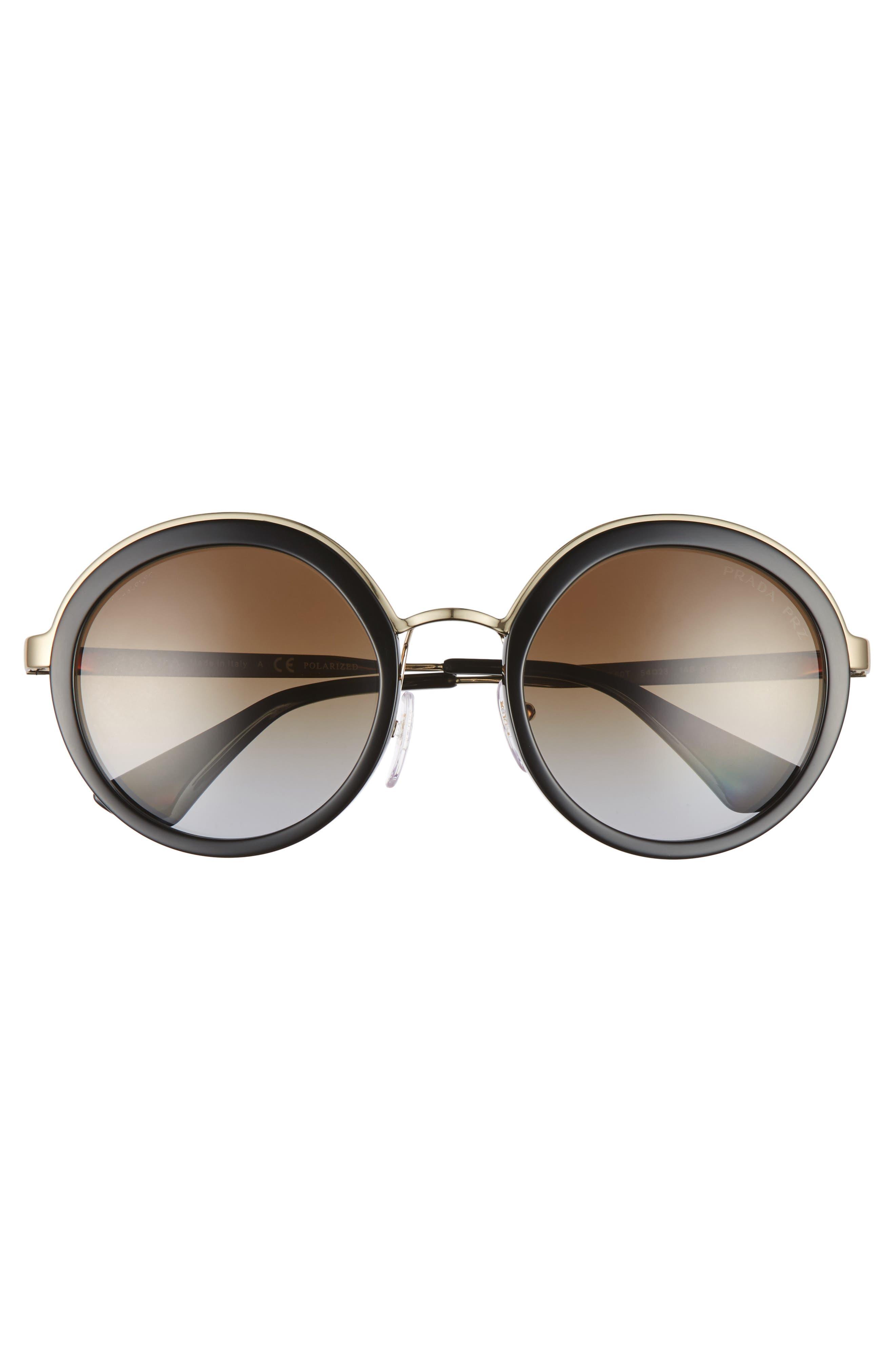 54mm Polarized Round Sunglasses,                             Alternate thumbnail 3, color,                             001