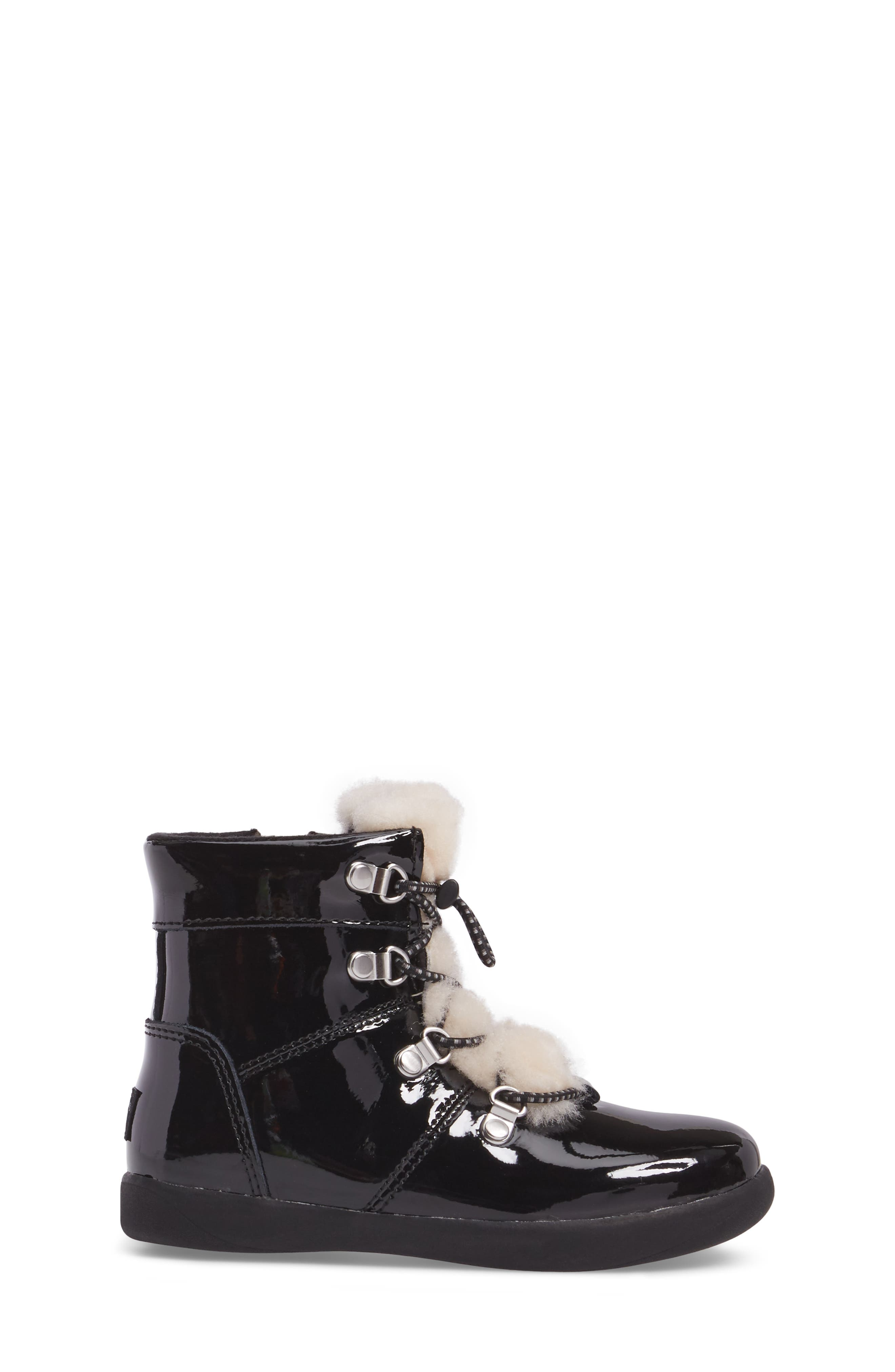 T Ager Genuine Shearling Polished Bootie,                             Alternate thumbnail 3, color,                             BLACK/ BLACK
